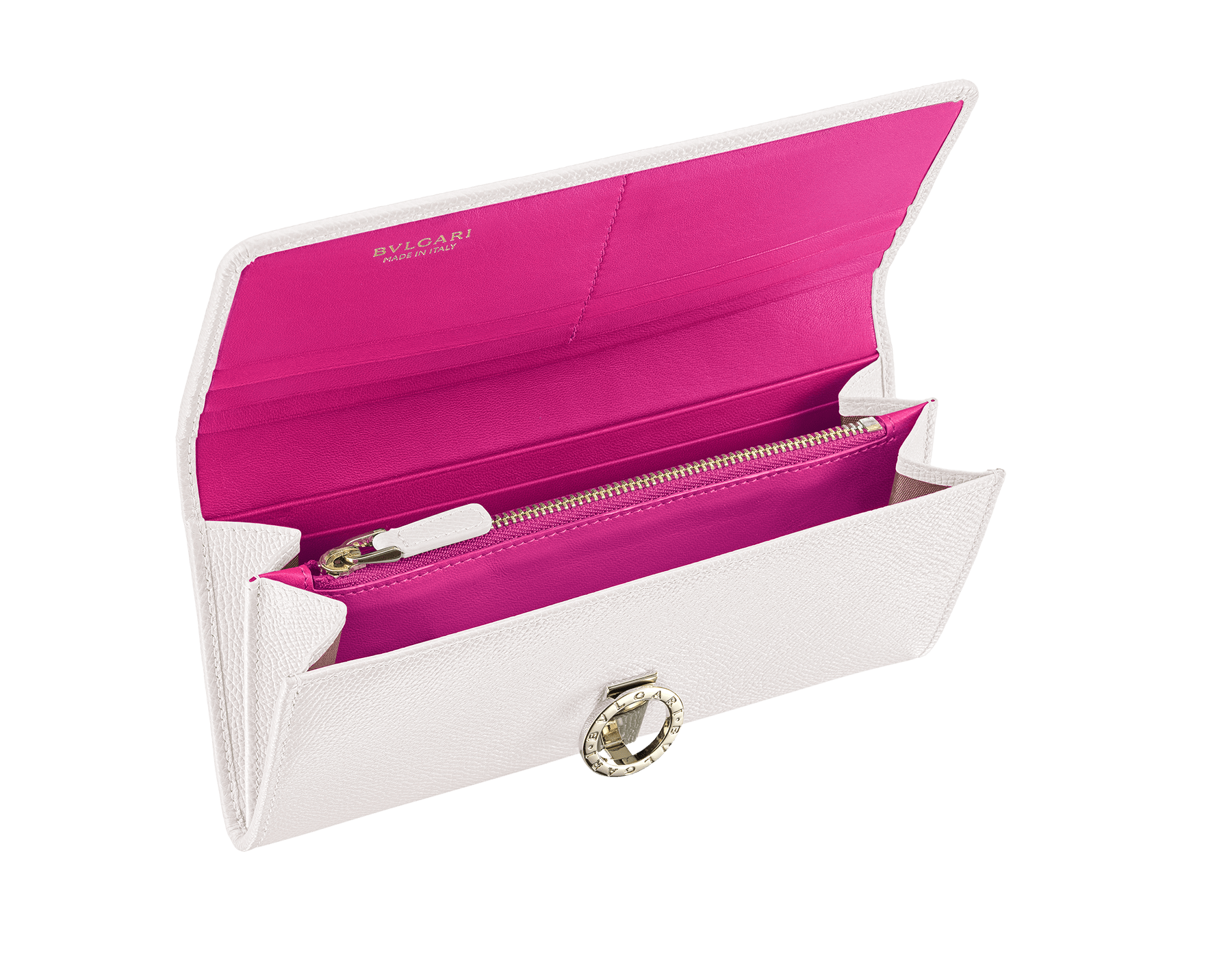 """BVLGARI BVLGARI"" large wallet in Lavender Amethyst lilac bright grained calf leather and peach nappa leather. Iconic logo clip closure in light gold-plated brass. 579-WLT-SLI-POC-CLd image 2"
