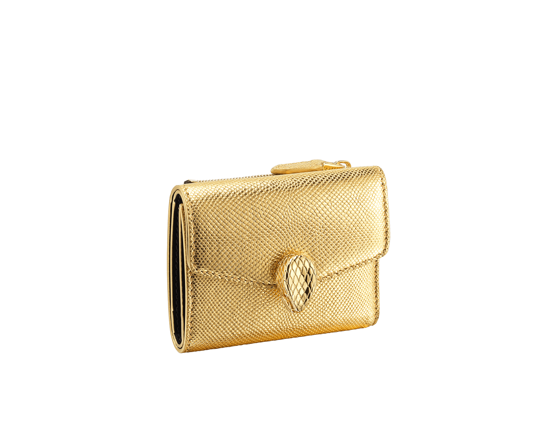 "Slender, compact ""Serpenti Forever"" wallet in ""Molten"" gold karung skin and black calfskin, offering a touch of radiance for the Winter Holidays. New Serpenti head closure in gold-plated brass, complete with ruby-red enamel eyes. SEA-SLIMCOMPACT-MoltK image 1"