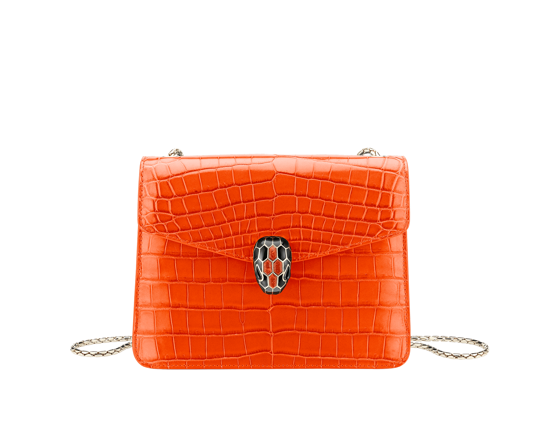"""""""Serpenti Forever"""" crossbody bag in white agate crocodile skin with an iridescent and pearled effect. Iconic snake head closure in light gold plated brass enriched with black enamel and mother-of-pearl scales, and blue lapis lazuli eyes. 422-CR image 1"""