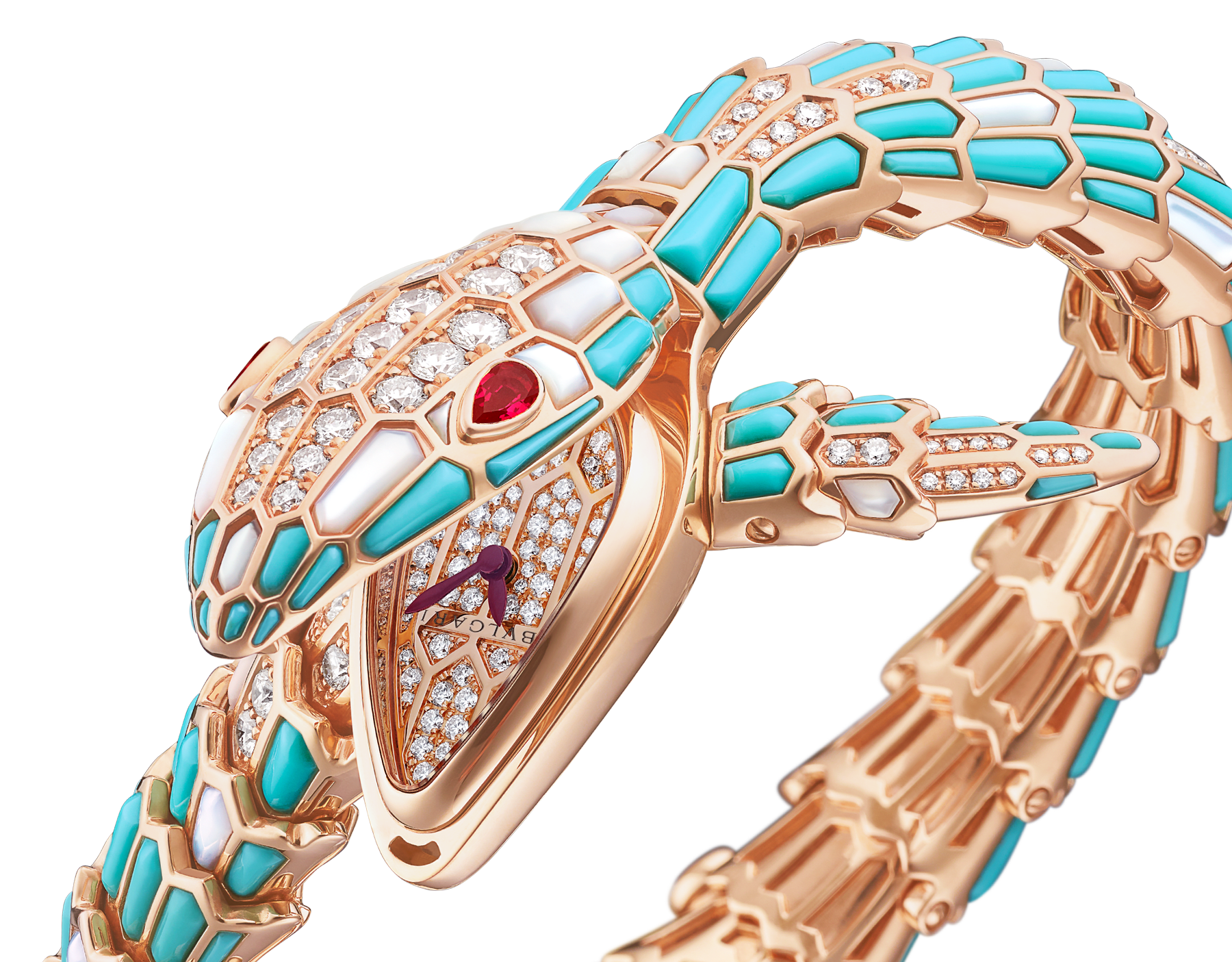 Serpenti Secret Watch with 18 kt rose gold head and single spiral bracelet, both set with brilliant cut diamonds, turquoise and mother-of-pearl elements, ruby eyes, 18 kt rose gold case, 18 kt rose gold dial set with brilliant cut diamonds and mother-of-pearl. 102533 image 2