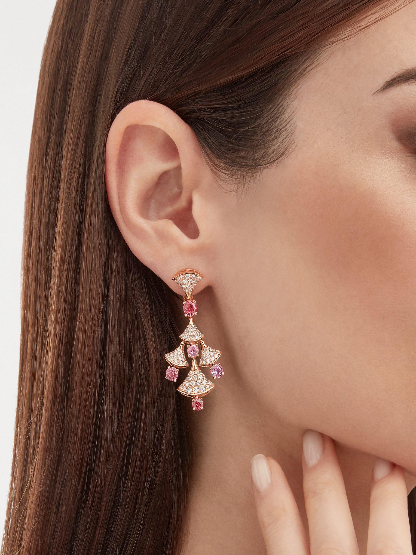 Серьги DIVAS' DREAM, розовое золото 18карат, шпинели классической огранки (3,81 карата), бриллиантовое паве (2,22 карата). 357943 image 4