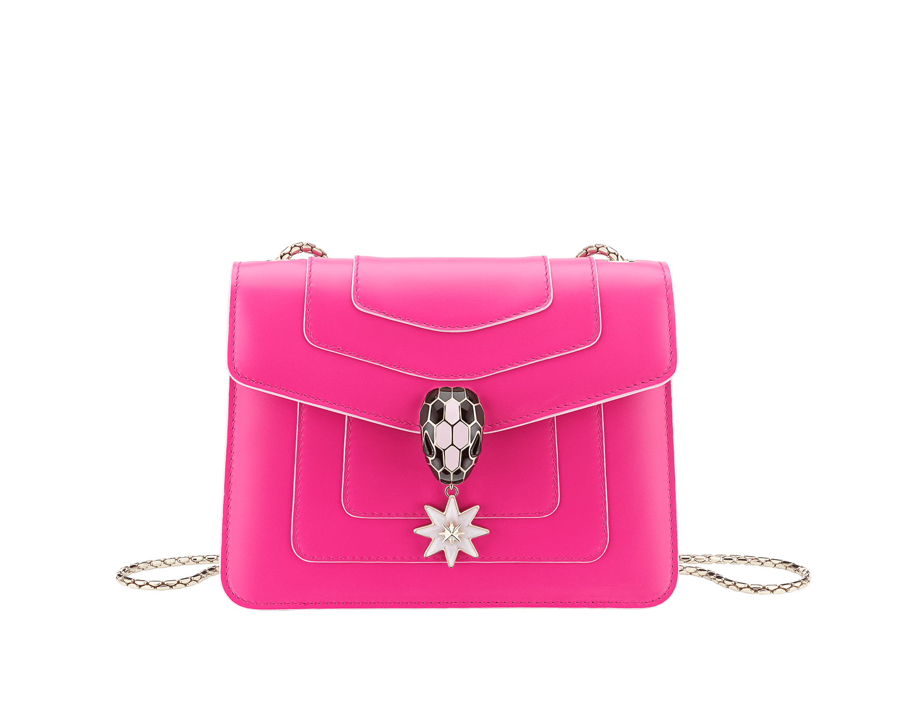 Serpenti Forever Holiday Season crossbody bag in flash amethyst calf leather and rose quartz brushed metallic calf leather. Snakehead closure in light gold plated brass embellished with black and sakura pink enamel, black onyx eyes and a pink opal eight-pointed star charm. 289367 image 1