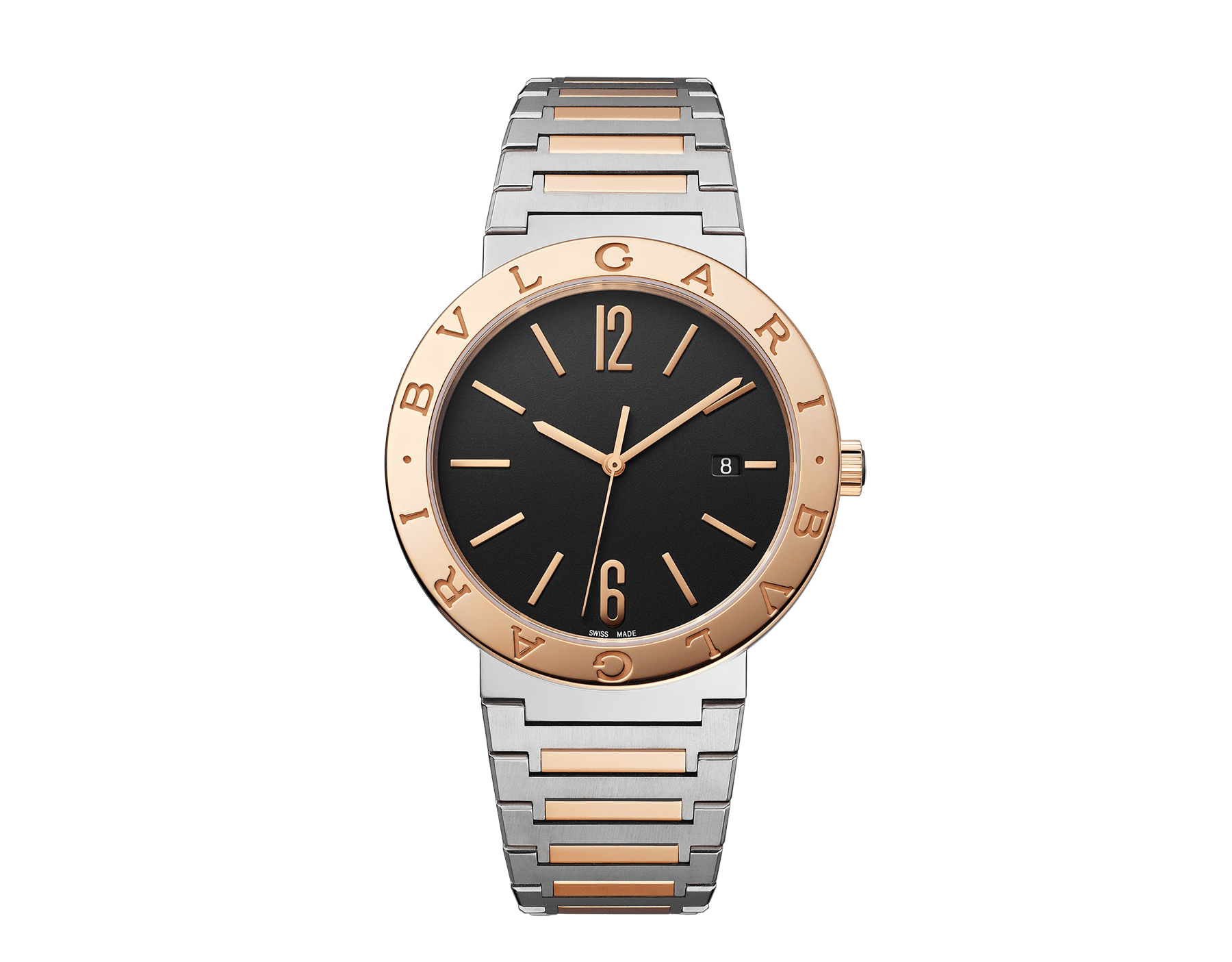 BVLGARI BVLGARI Solotempo watch with mechanical manufacture movement, automatic winding and date, stainless steel case, 18 kt rose gold bezel engraved with double logo, black dial and 18 kt rose gold and stainless steel bracelet 102930 image 1