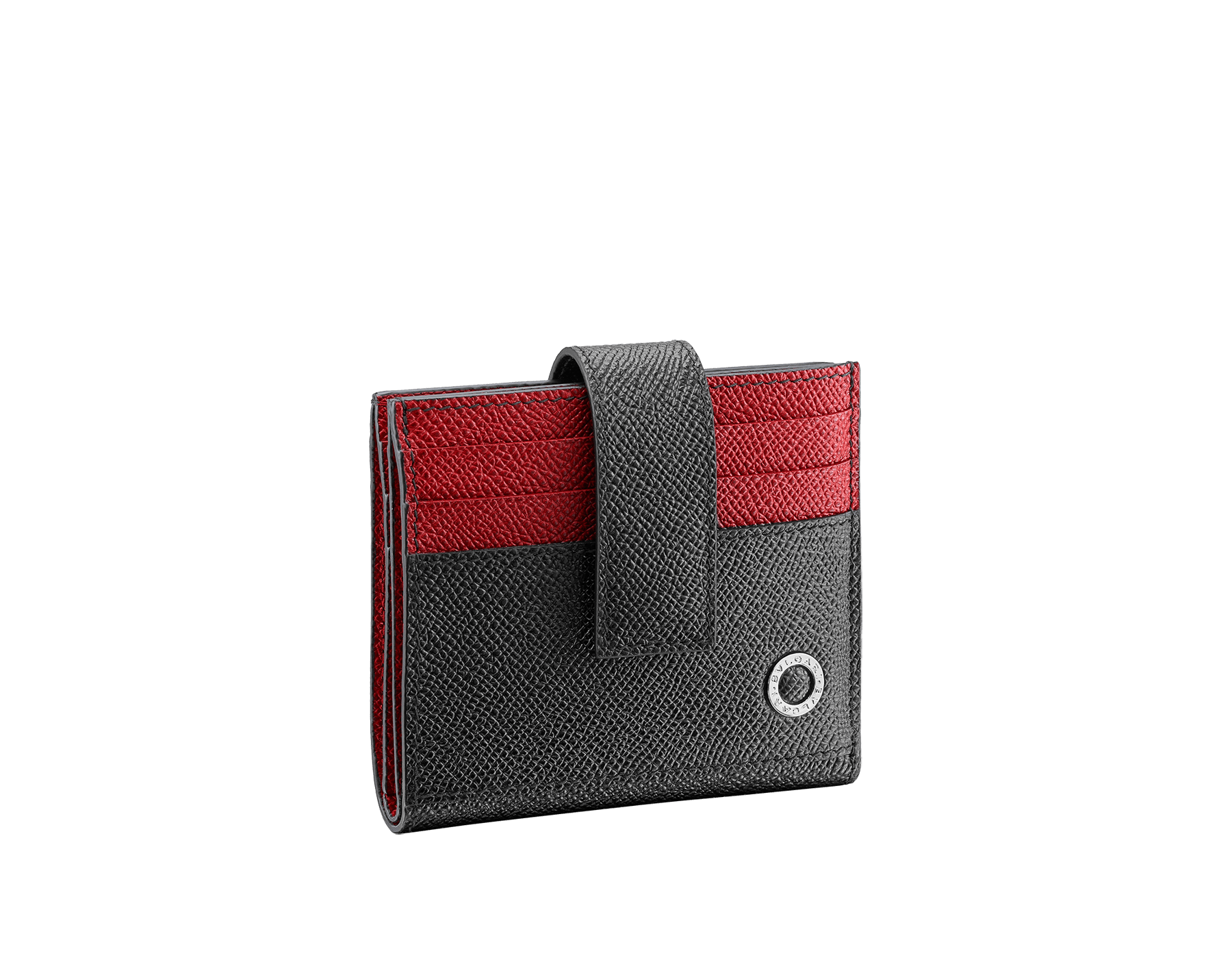 """BVLGARI BVLGARI"" card holder in black and ruby red grain calf leather. Iconic logo decoration in palladium plated brass. 290070 image 1"