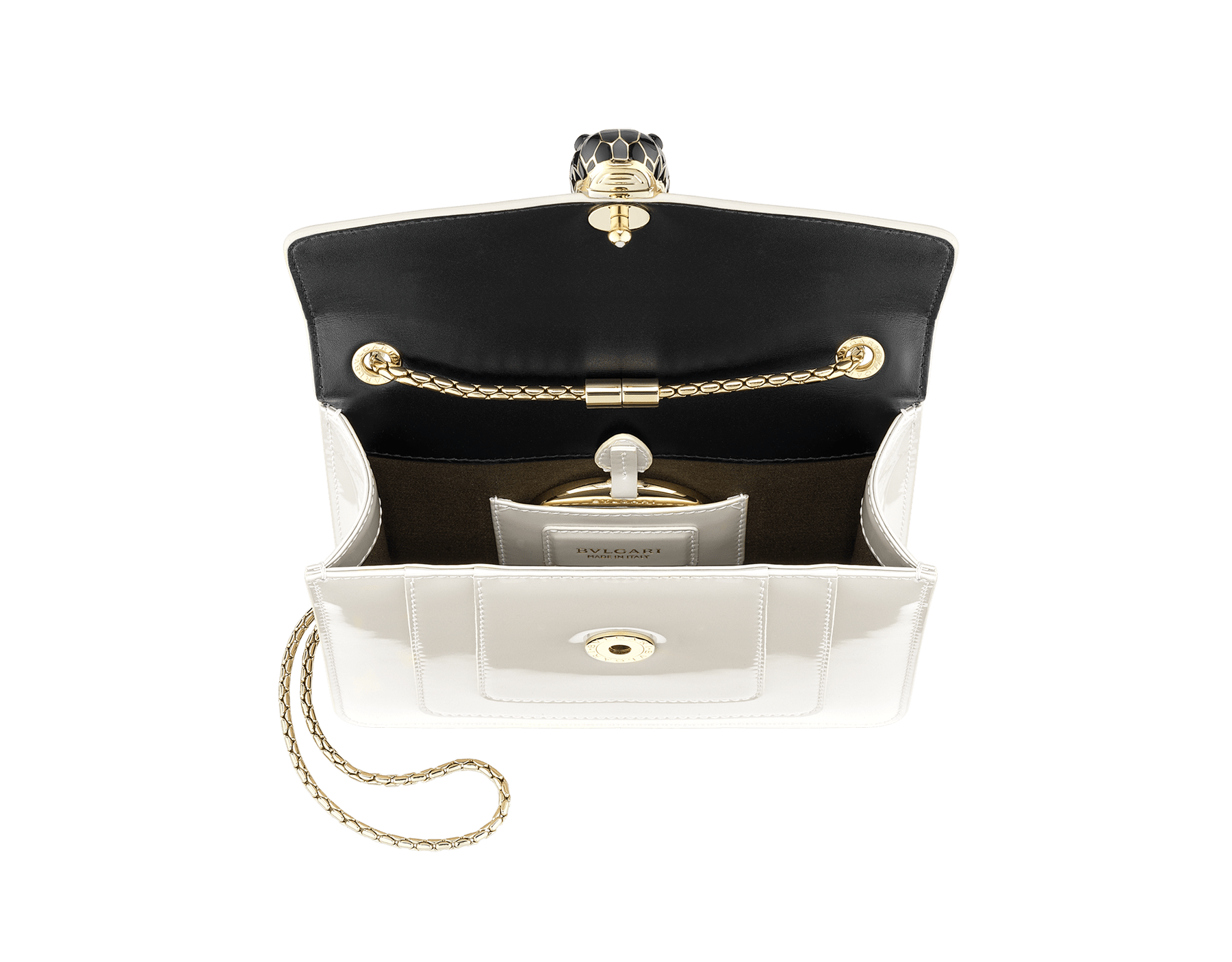 """Serpenti Forever"" crossbody bag in white agate calf leather with a varnished and pearled effect. Iconic snake head closure in light gold plated brass enriched with black and pearled white agate enamel, and black onyx eyes 289769 image 4"