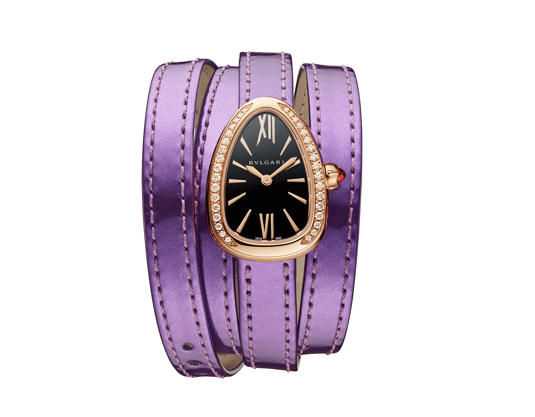 Serpenti watch with 18 kt rose gold case set with diamonds, black lacquered dial and interchangeable qadruple spiral bracelet in wisteria jade brushed metallic calf leather. 102969 image 1