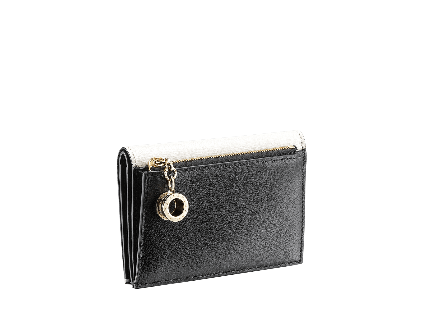 B.zero1 double folded credit card holder in black goatskin. Iconic B.zero1 charm in light gold plated brass. BZA-DOUBLECCHOLD image 3
