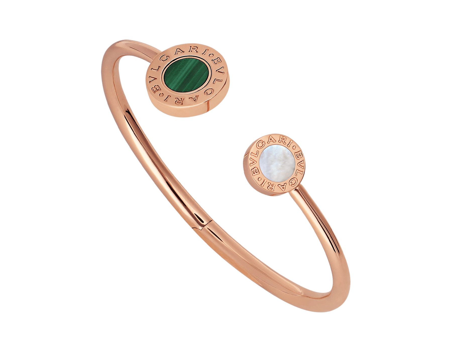 BVLGARI BVLGARI 18 kt rose gold flip bracelet set with mother-of-pearl, onyx and malachite elements BR858422 image 1
