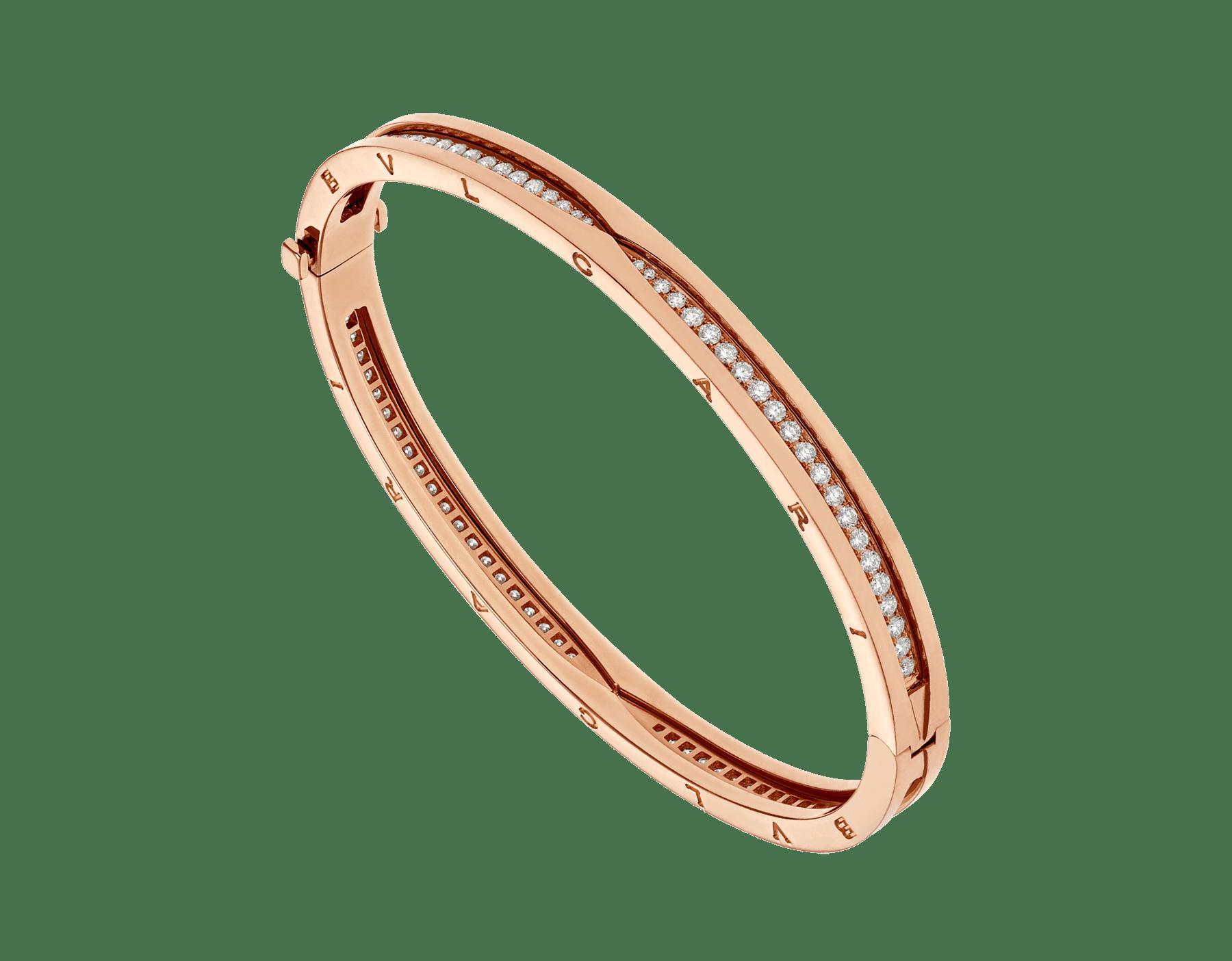 B.zero1 18 kt rose gold bracelet set with pavé diamonds on the spiral BR858817 image 1