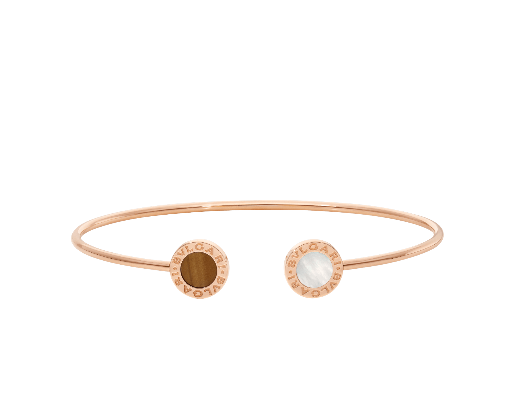 BVLGARI BVLGARI 18 kt rose gold bracelet set with mother-of-pearl and tiger's eye elements BR858623 image 2