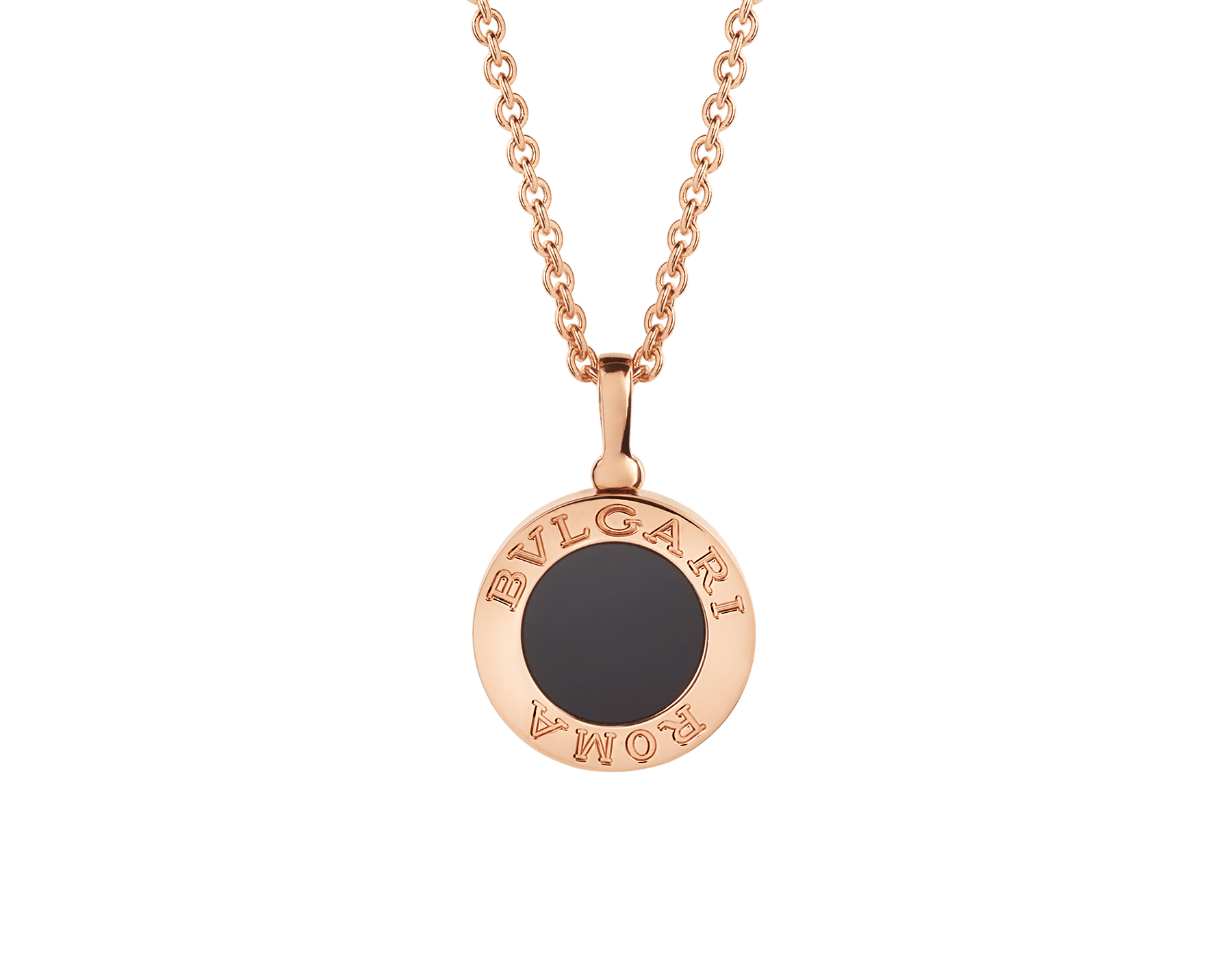 BVLGARI BVLGARI necklace with 18 kt rose gold chain and 18 kt rose gold pendant set with onyx and pavé diamonds 350815 image 3