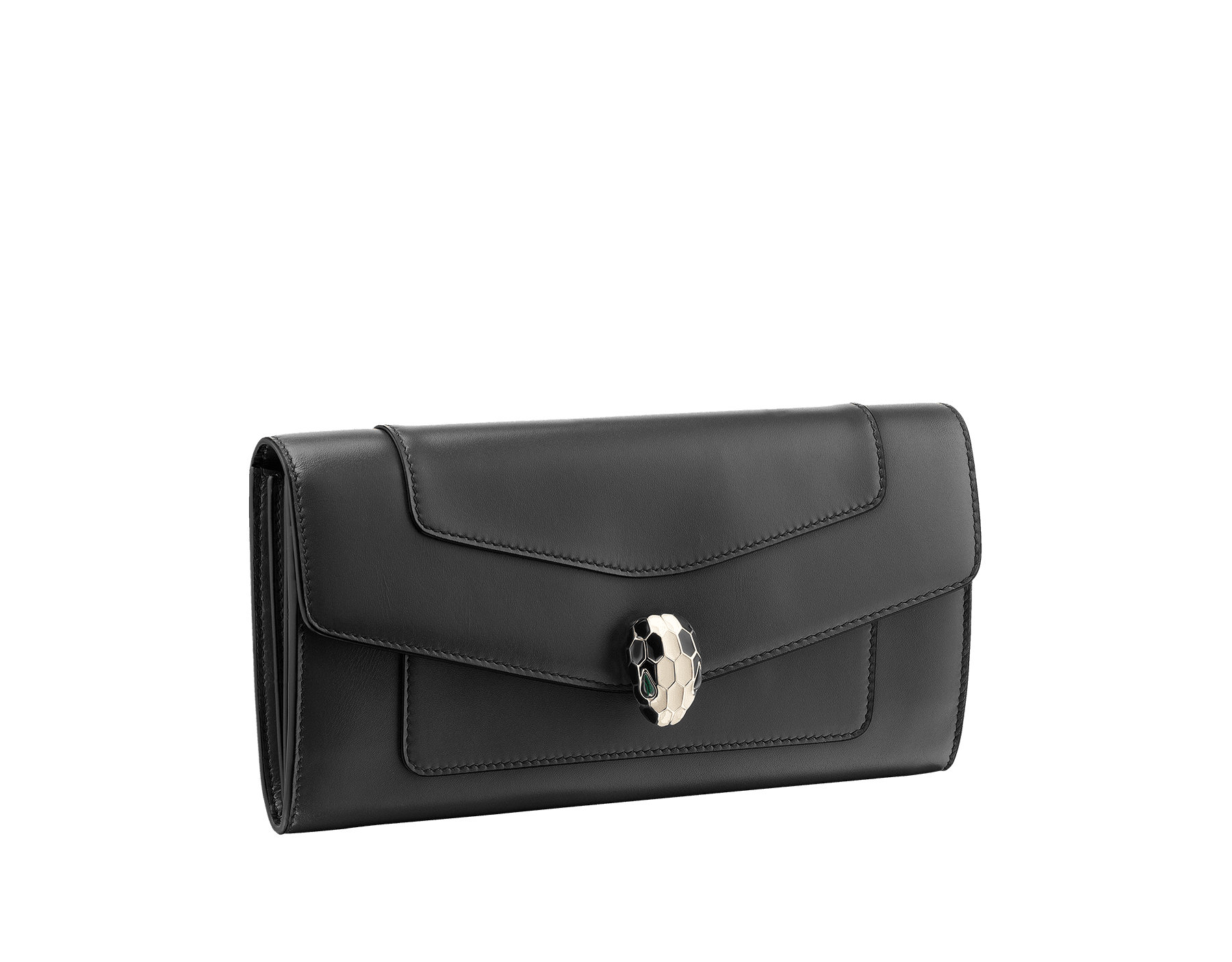 Wallet pochette in black and emerald green calf leather with brass light gold plated hardware.Serpenti head stud closure in black and white enamel with eyes in green malachite. 280353 image 1