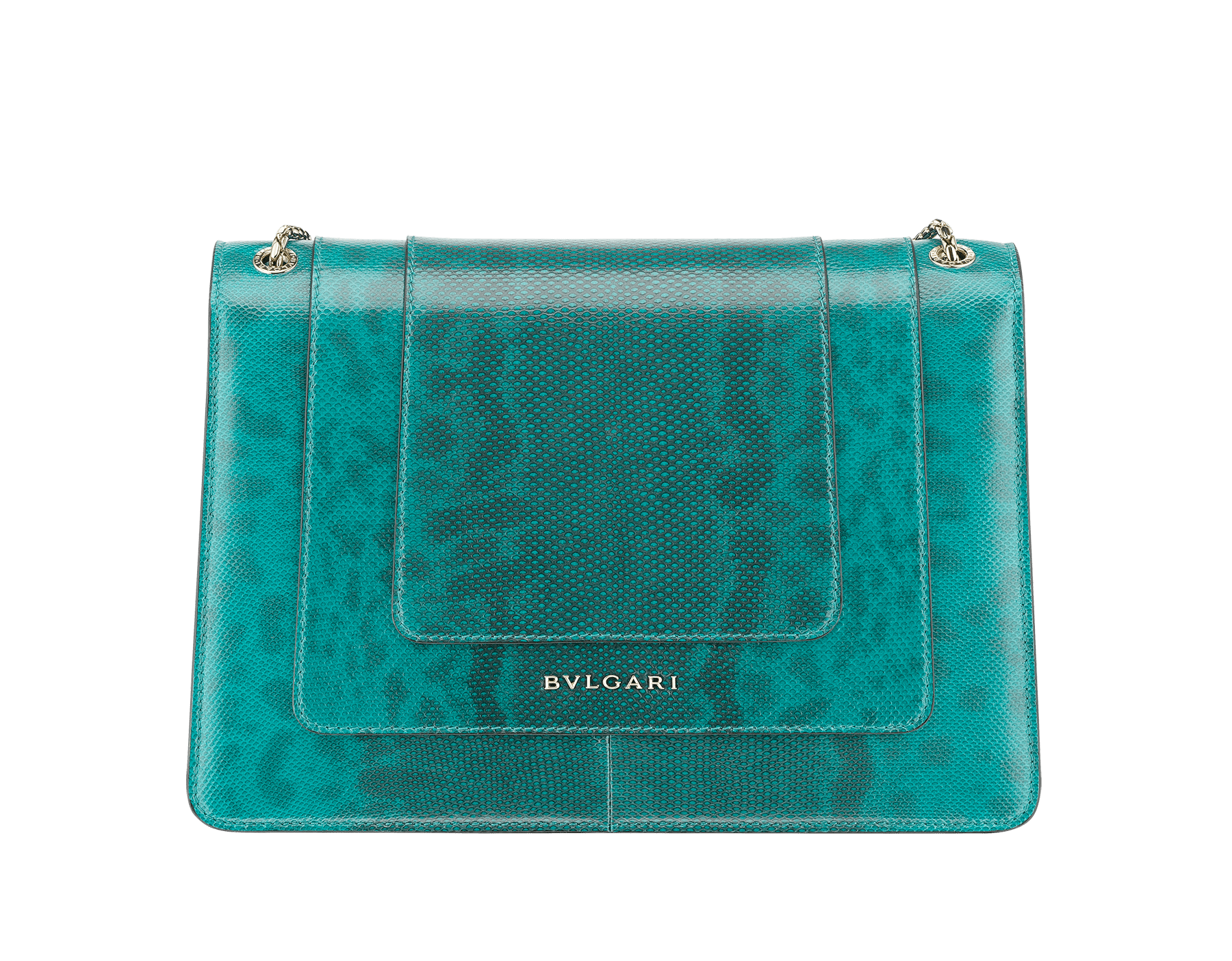 Serpenti Forever shoulder bag in tropical turquoise shiny karung skin. Snakehead closure in light gold plated brass decorated with black and white enamel, and green malachite eyes. 287917 image 3