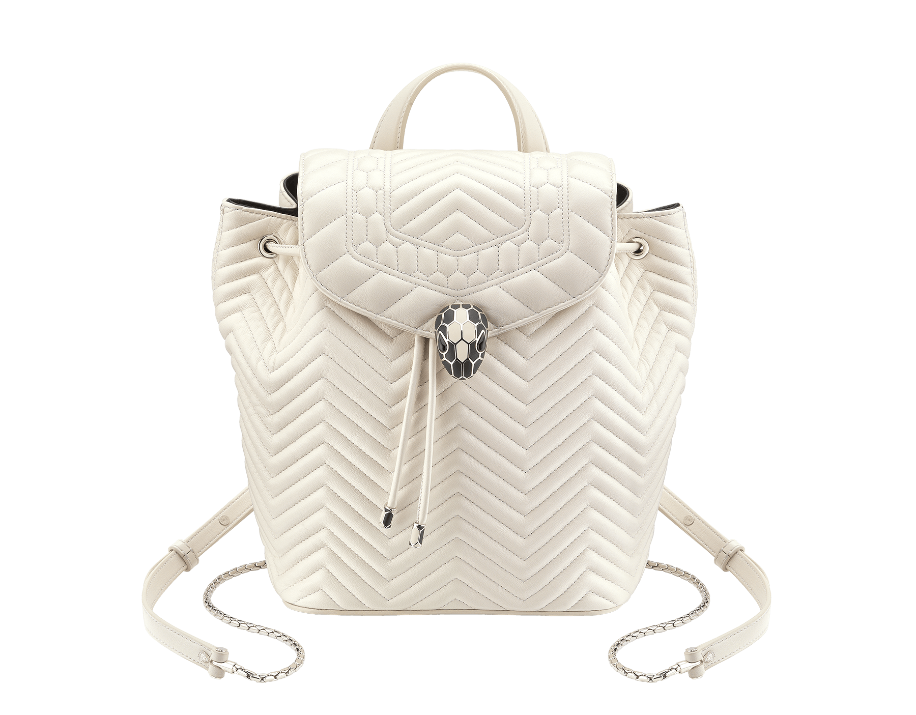 Backpack Serpenti Forever in white agate quilted nappa leather and black internal lining. Hardware in light gold plated brass and snakehead closure in matte black and white agate enamel, with eyes in black onyx. 286979 image 1