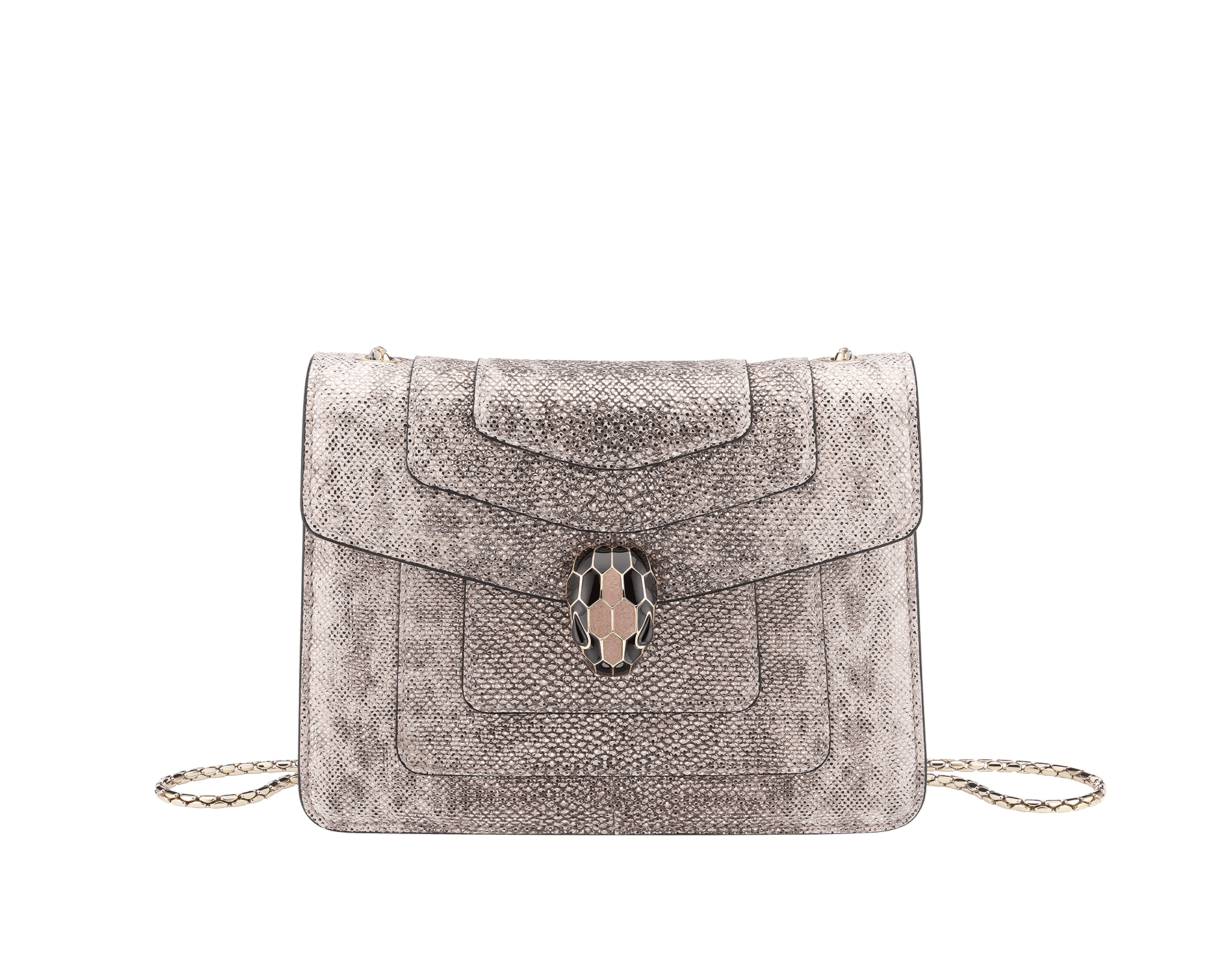 """""""Serpenti Forever"""" crossbody bag in crystal rose metallic karung skin. Iconic snakehead closure in light gold plated brass enriched with glitter rose gold and shiny black enamel and black onyx eyes 287087 image 1"""