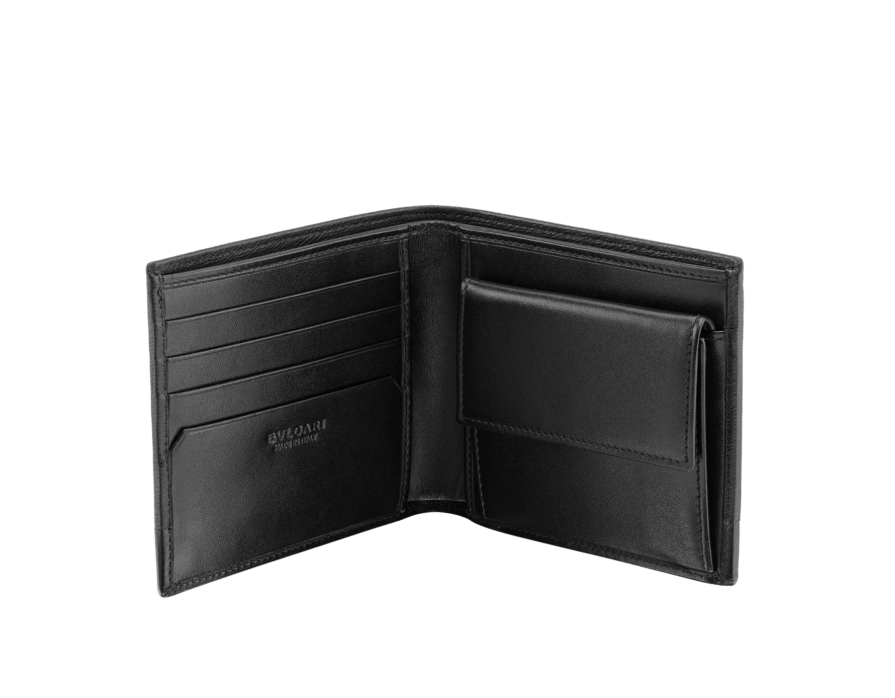 Serpenti Scaglie men's compact wallet in mimetic jade grazed calf leather and black calf leather. Bvlgari logo engraved on the hexagonal scaglie metal plate finished in dark ruthenium. 581-WLT-ITAL image 2
