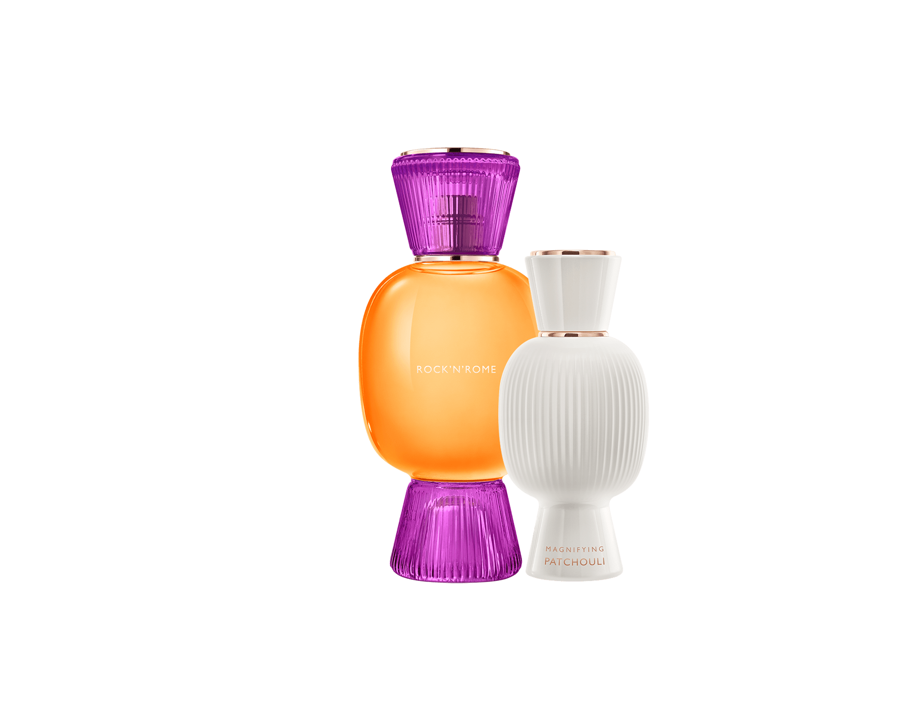An exclusive perfume set, as bold and unique as you. The liquorous floriental Rock'n'Rome Allegra Eau de Parfum blends with the stark sensuality of the Magnifying Patchouli Essence, creating an irresistible personalised women's perfume. Perfume-Set-Rock-n-Rome-and-Patchouli-Magnifying image 1