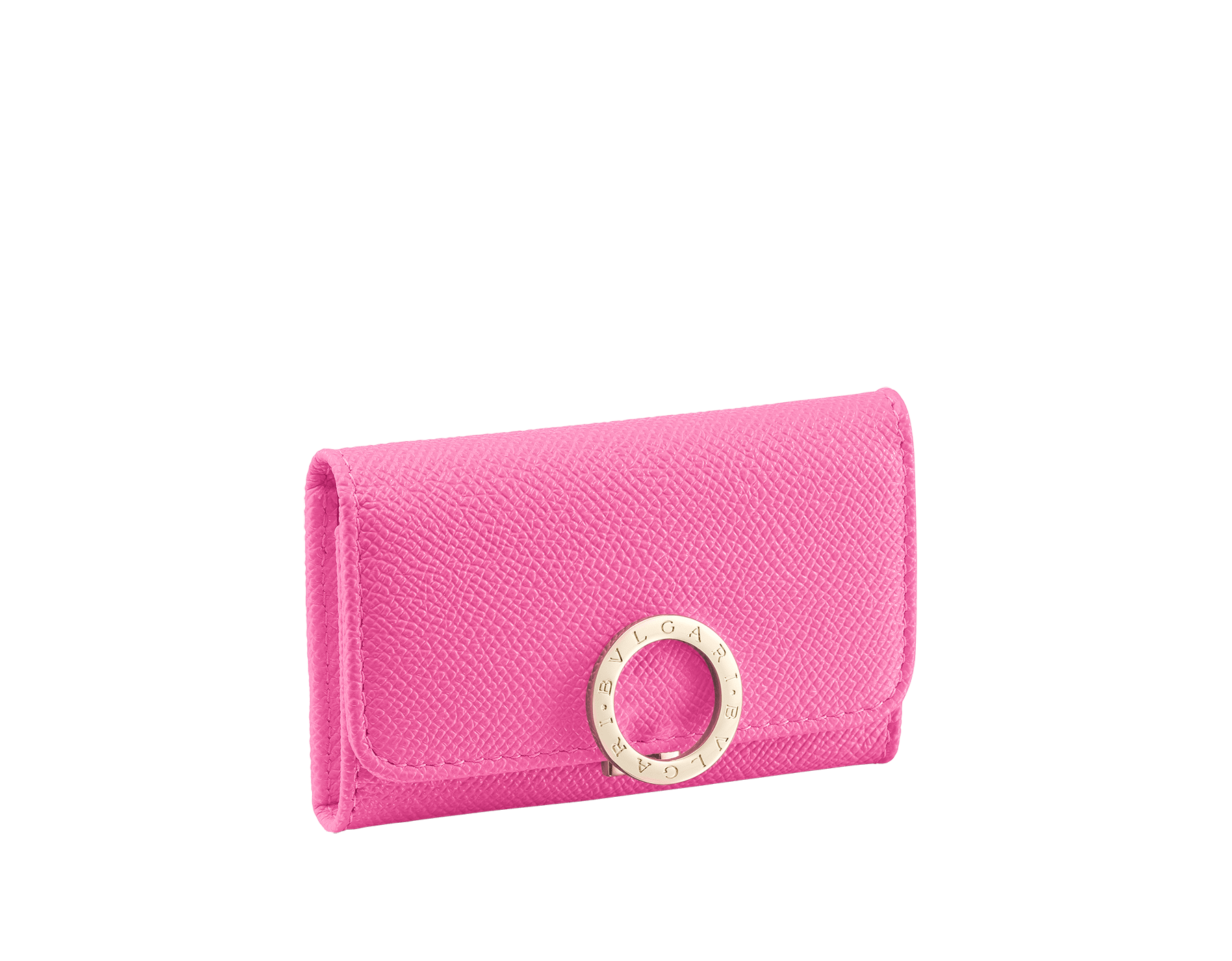 """BVLGARI BVLGARI"" small key holder in mint bright grain calf leather and taffy quartz soft nappa leather. Iconic logo clip closure in light gold plated brass. 579-KEYHOLDER-Sb image 1"