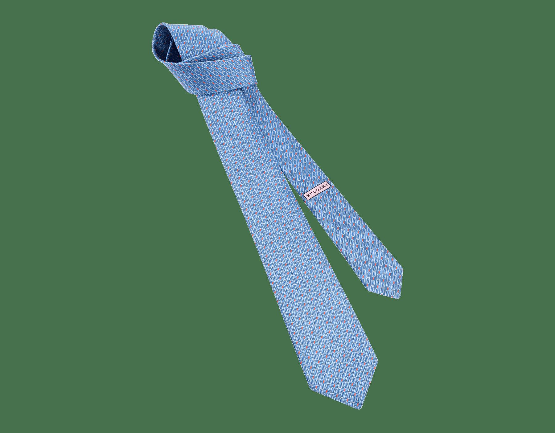 Cravate sept plis Snake Link bleu clair en jacquard de soie fine. 244173 image 1
