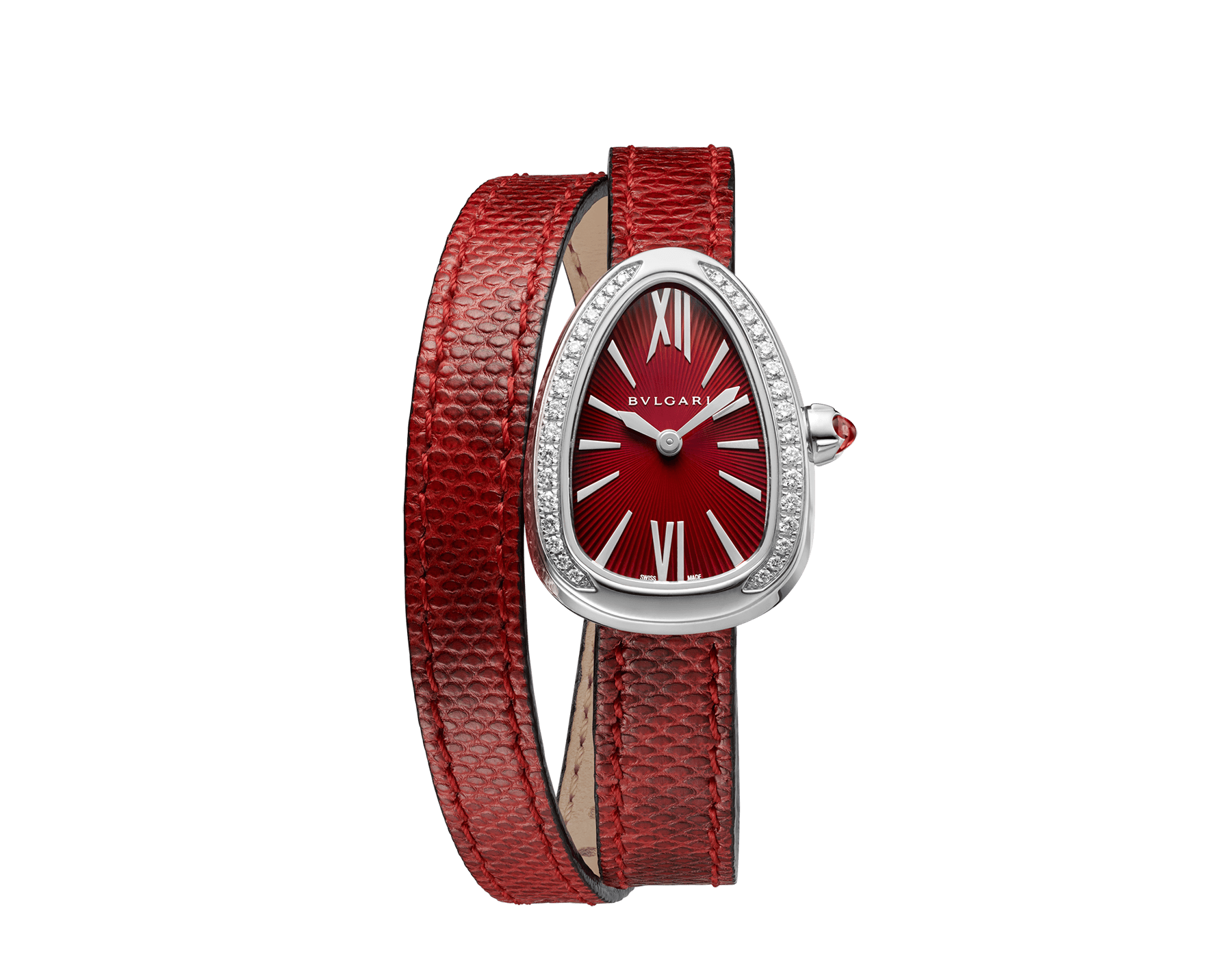 Serpenti watch with stainless steel case set with diamonds, red lacquered dial and interchangeable double spiral bracelet in red karung leather. 102780 image 1