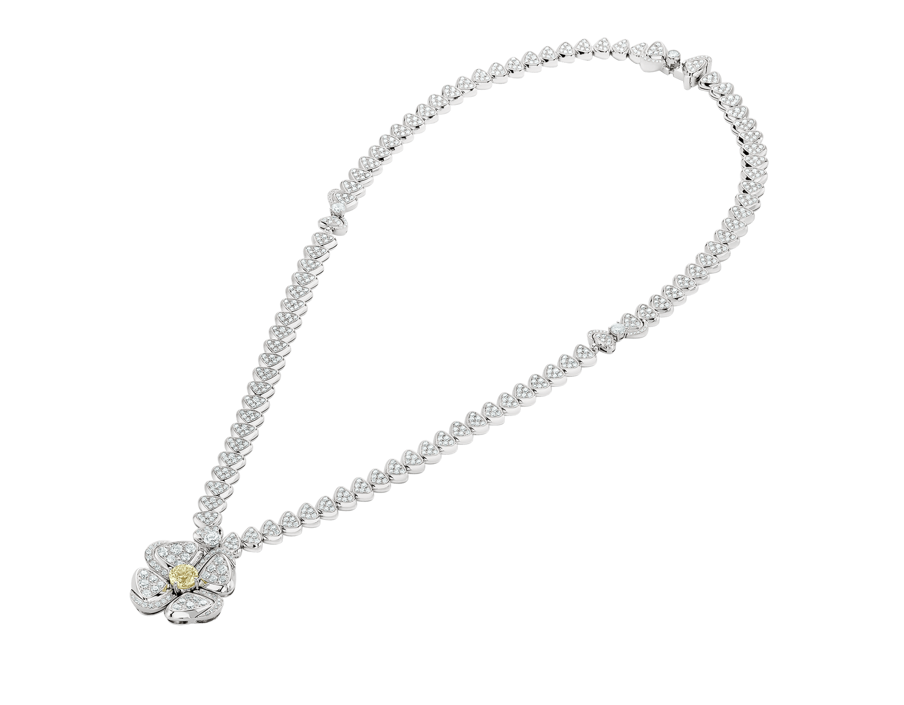 Fiorever 18 kt white gold necklace set with one central yellow diamond (0.50 ct) and pavé diamonds 357797 image 2