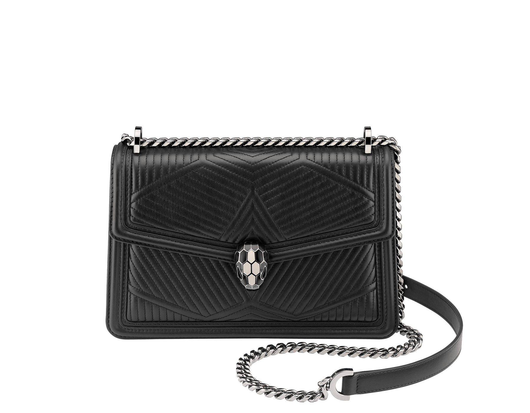 """Serpenti Diamond Blast"" shoulder bag in black quilted nappa leather body and black calf leather frames. Iconic snakehead closure in dark ruthenium plated brass enriched with black and white enamel and black onyx eyes. 287371 image 2"