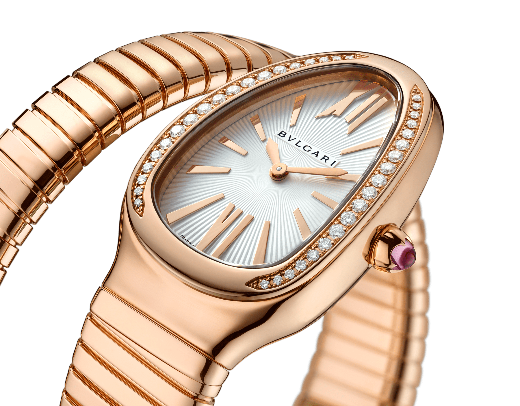 Serpenti Tubogas single spiral watch with 18 kt rose gold case set with brilliant-cut diamonds, silver opaline dial and 18 kt rose gold bracelet 103003 image 3