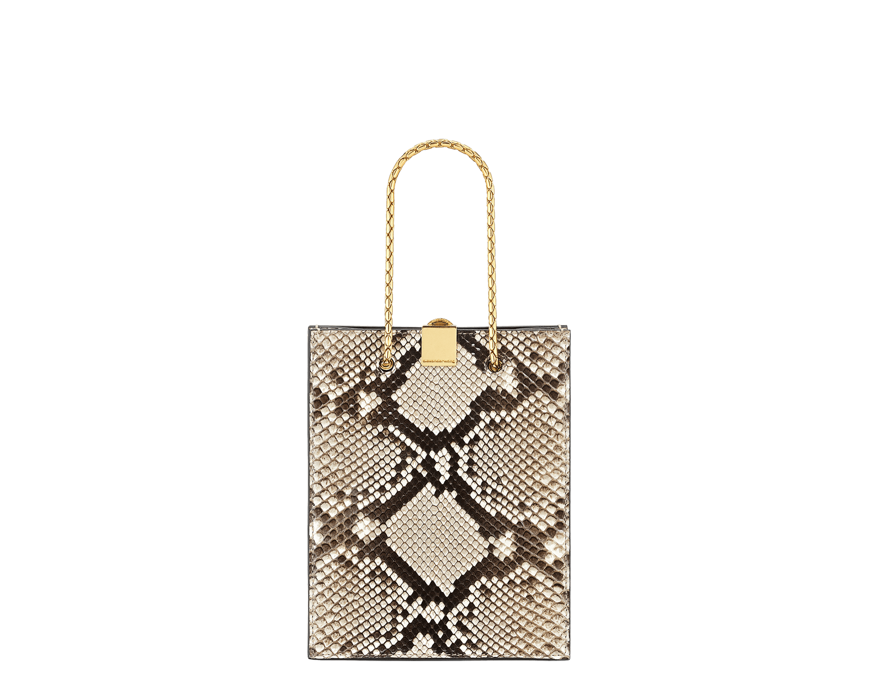 Alexander Wang x Bvlgari mini shopping tote bag in natural python skin and black calf leather. New Serpenti head closure in antique gold plated brass with tempting red enamel eyes. Limited edition. 288732 image 3