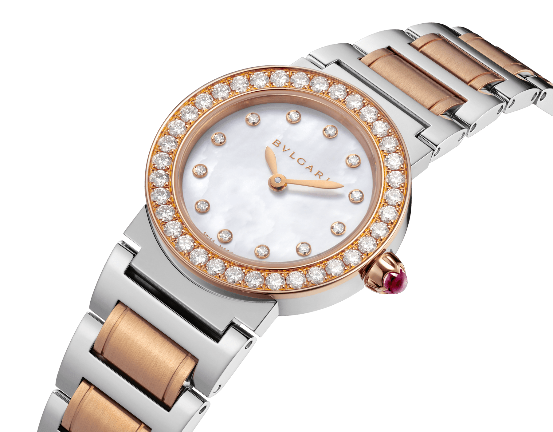 The BVLGARI BVLGARI watch has a stainless steel case, 18 kt rose gold bezel set with diamonds, white mother-of-pearl dial set with diamond indices and a stainless steel and 18 kt rose gold bracelet. 102477 image 2
