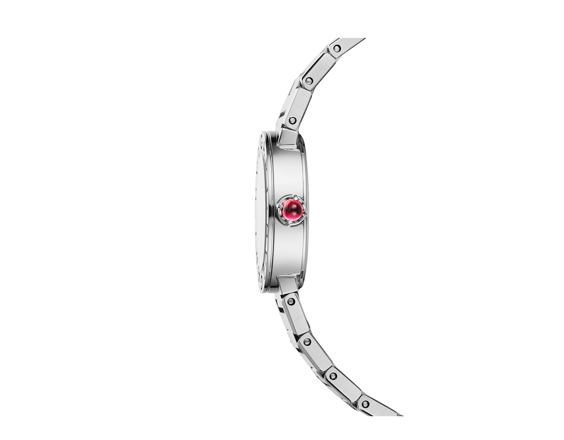 BVLGARI BVLGARI LADY watch in stainless steel case and bracelet, stainless steel bezel engraved with double logo and black lacquered dial 102943 image 2