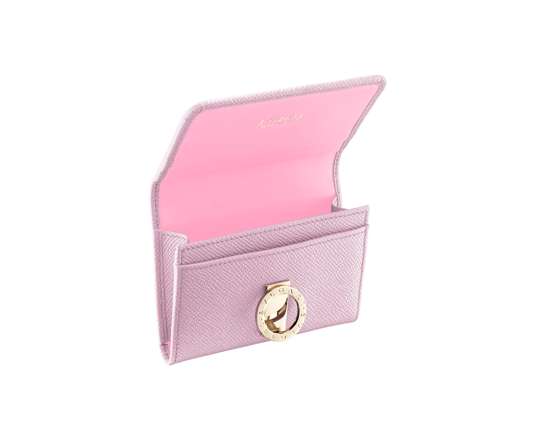BVLGARI BVLGARI business card holder in rosa di francia bright grain calf leather and flamingo quartz nappa leather. Iconic logo clip closure in light gold plated brass. 289039 image 2