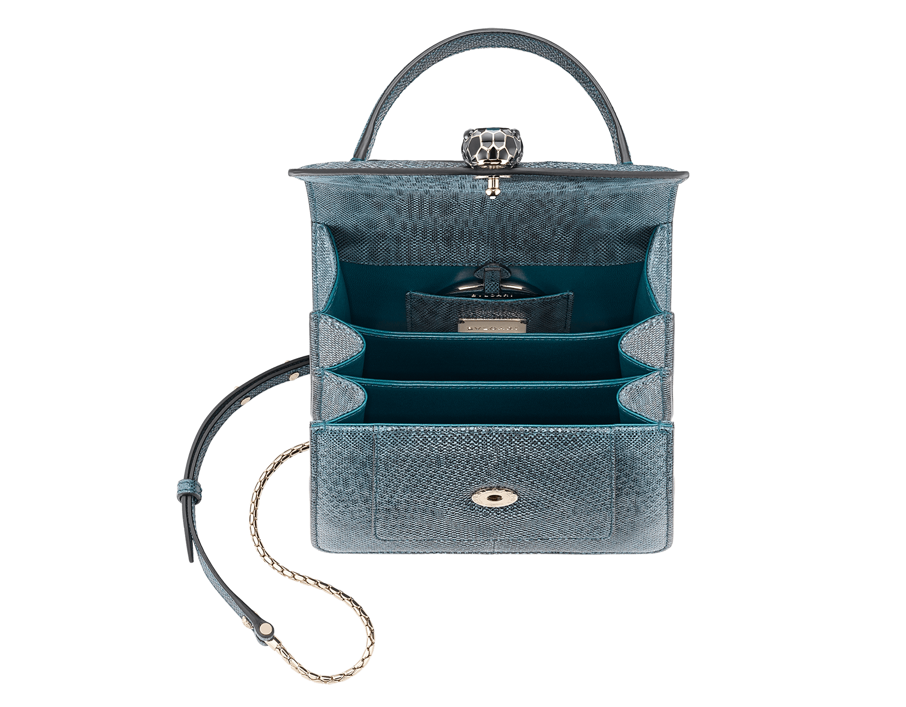 """Serpenti Forever"" crossbody bag in deep jade metallic karung skin. Iconic snakehead closure in light gold plated brass enriched with black and glitter deep jade enamel and black onyx eyes. 287946 image 3"