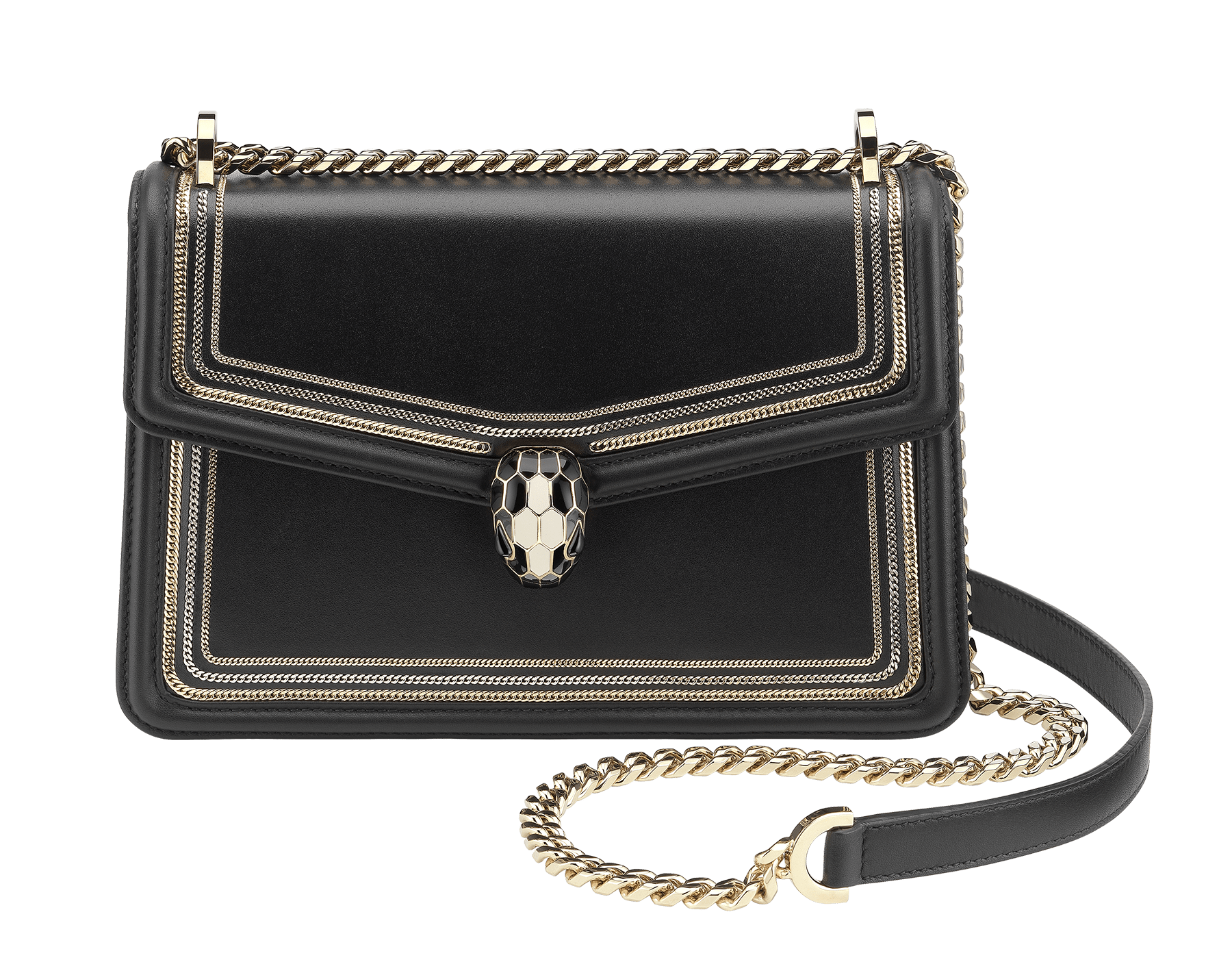 """Serpenti Diamond Blast"" shoulder bag in black smooth calf leather, featuring a 3-Chain motif in light gold and palladium finishing. Iconic snakehead closure in light gold plated brass enriched with black and white enamel and black onyx eyes 287465 image 1"