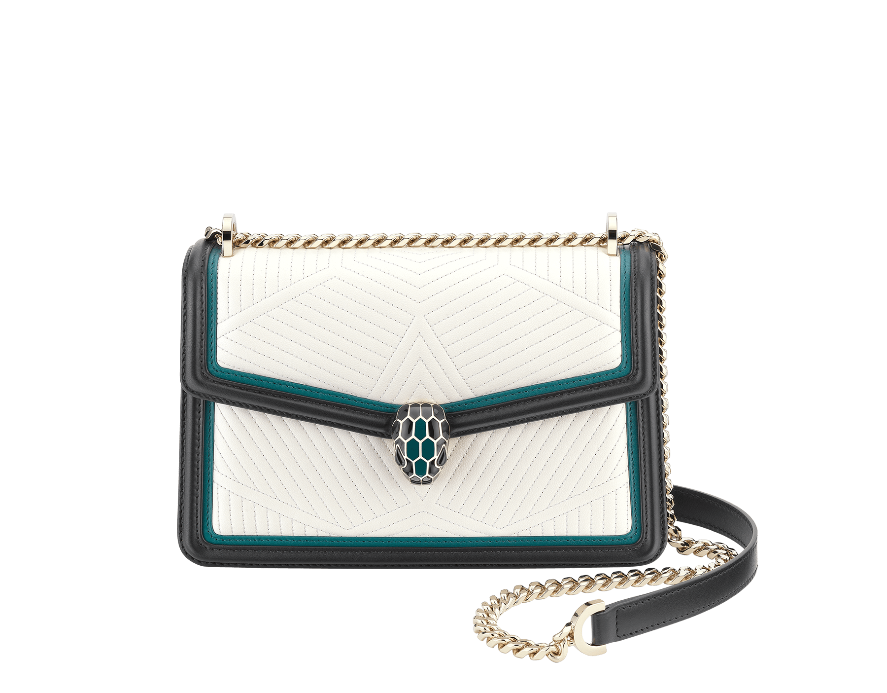 Serpenti Diamond Blast shoulder bag in white agate quilted nappa leather body and deep jade and black calf leather frames. Snakehead closure in light gold plated brass decorated with deep jade and black enamel, and black onyx eyes. 287970 image 1
