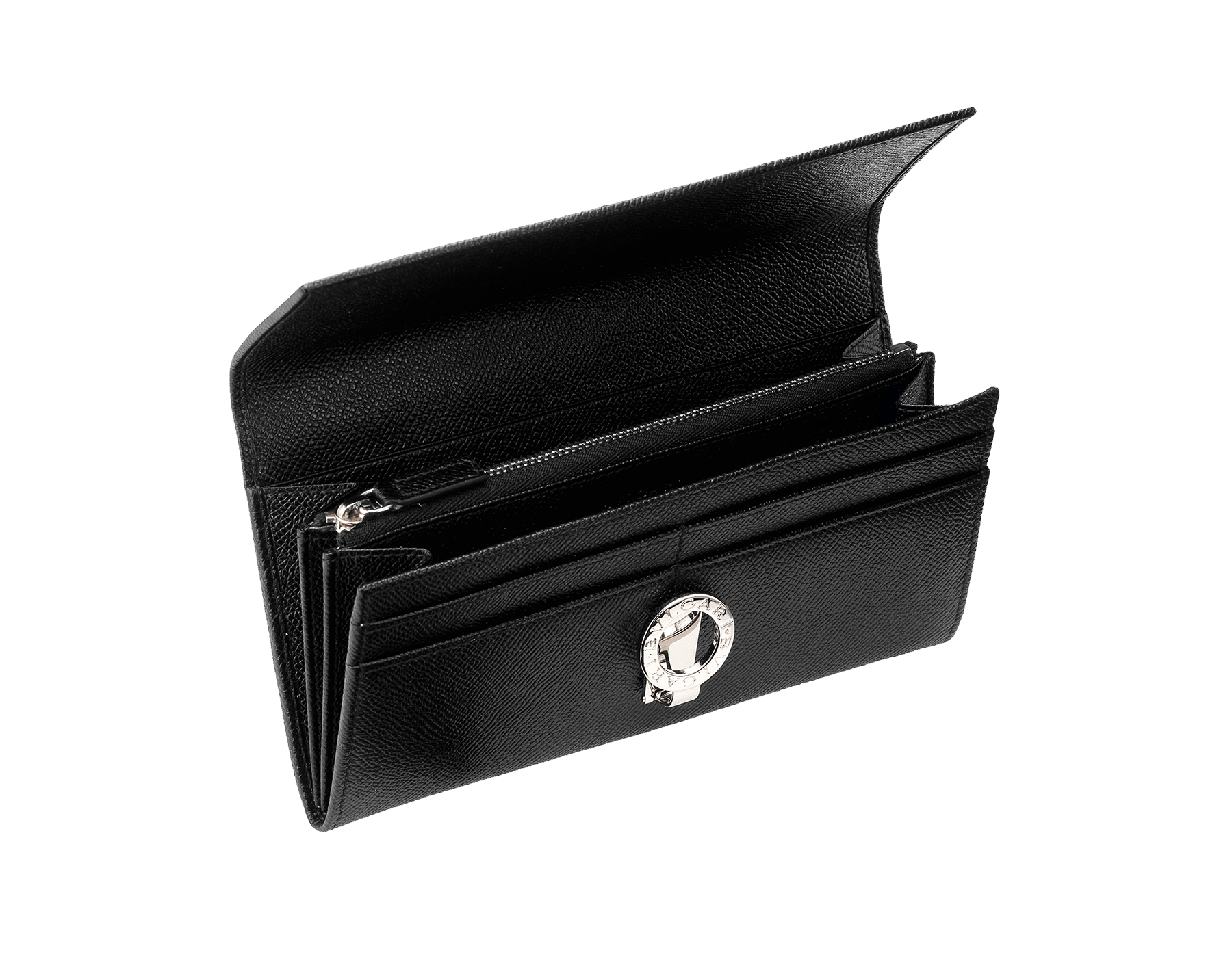 Woman wallet pochette 2 gussets & 10CC with clip,Grain leather black/Palladium, Lining 100% Leather royal 30414 image 2