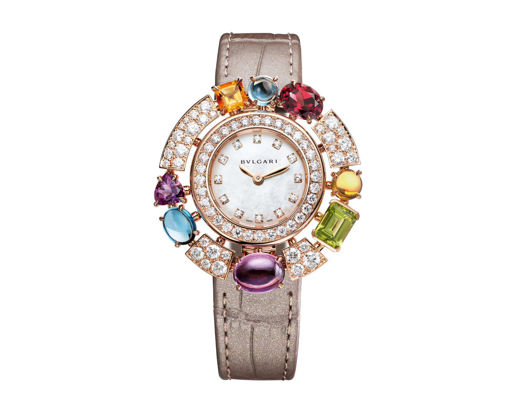 Allegra High Jewelry watch with 18 kt rose gold case set with brilliant-cut diamonds, two citrines, two amethysts, a peridot, two blue topazes and a rhodolite, mother-of-pearl dial, diamond indexes and shiny taupe alligator bracelet. Water-resistant up to 30 meters. 103493 image 1