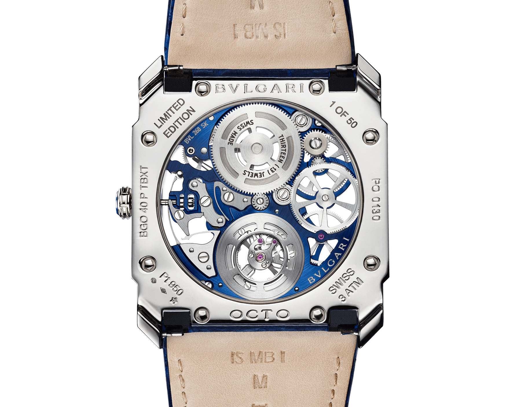 Octo Finissimo Tourbillon Skeleton watch with extra-thin mechanical movement with manual winding and flying tourbillon, 40 mm platinum case with transparent case back, platinum crown with blue ceramic insert, blue skeletonized caliber, blue alligator bracelet and platinum ardillon buckle 103188 image 4