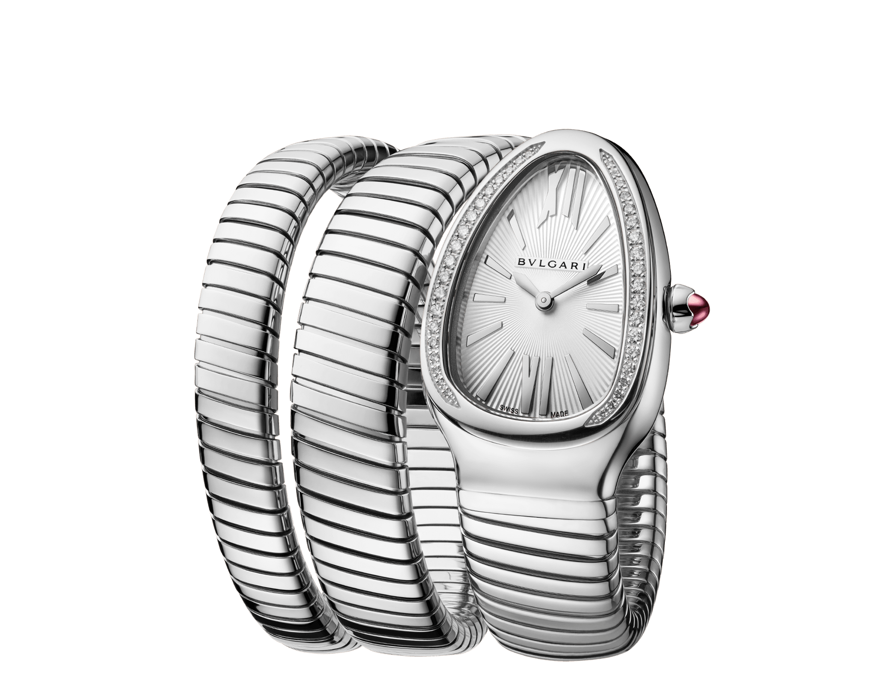 Serpenti Tubogas double spiral watch in stainless steel case and bracelet, bezel set with brilliant cut diamonds and silver opaline dial. 101910 image 2