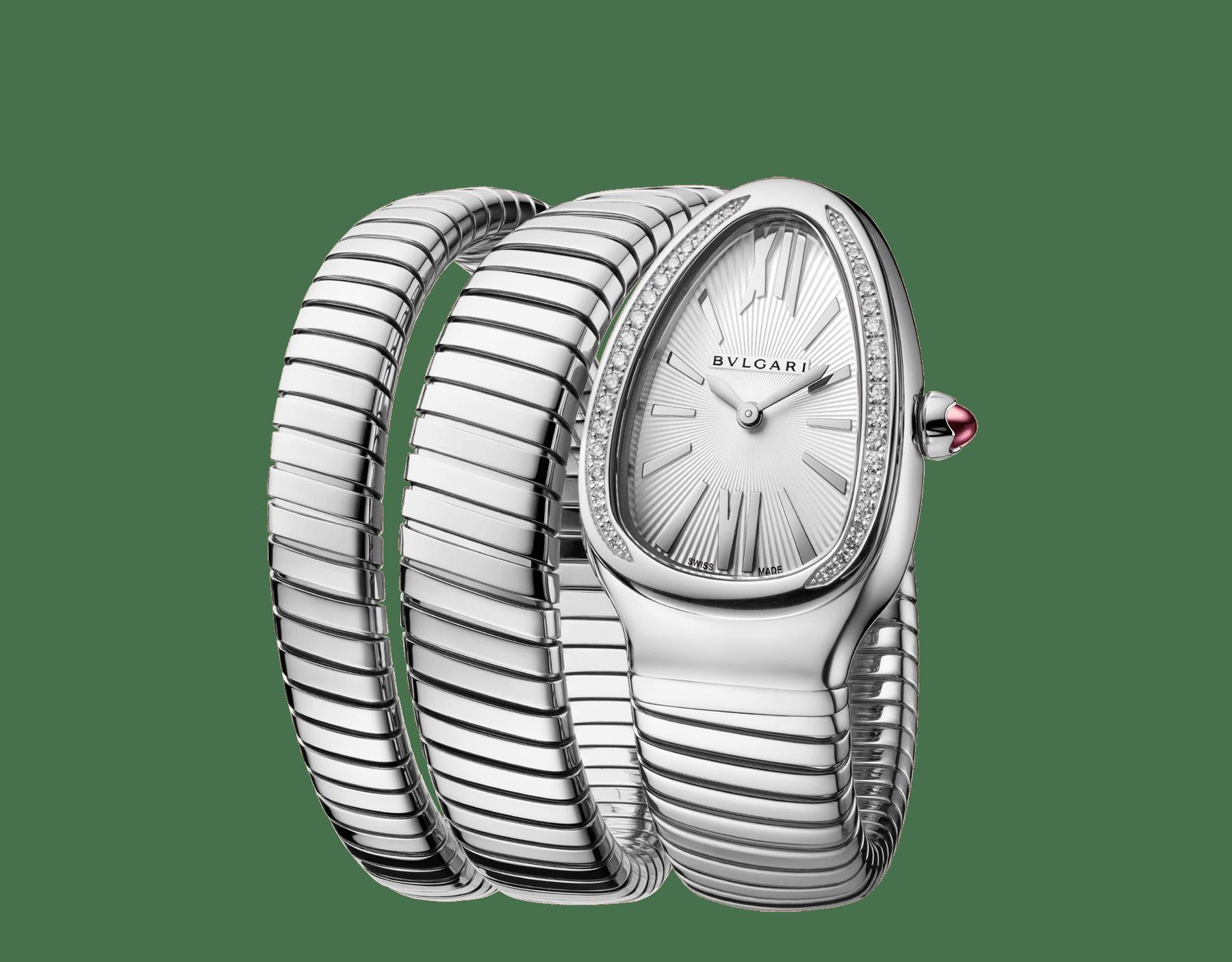 Montre Serpenti Tubogas avec boîtier et bracelet double spirale en acier inoxydable, lunette sertie de diamants taille brillant et cadran en opaline argentée. 101910 image 2