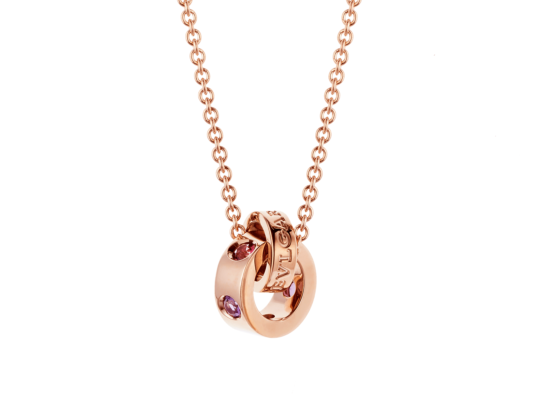 BVLGARI BVLGARI necklace with 18 kt rose gold chain and 18 kt rose gold pendant set with amethysts and pink tourmalines 352618 image 1