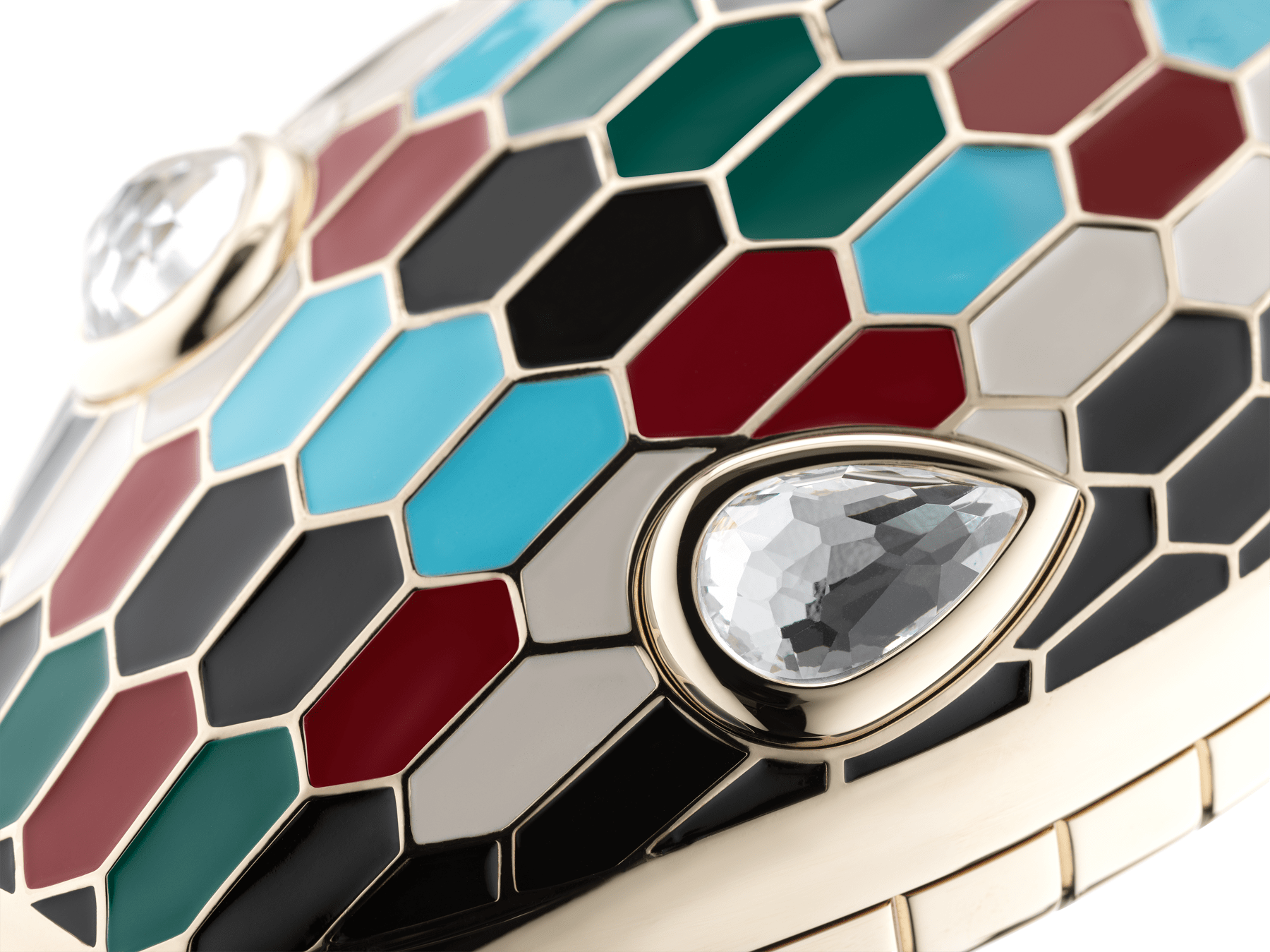 """""""Mary Katrantzou x Bvlgari"""" minaudière in light gold-plated brass with multicolor enamel scales, finished with seductive crystal eyes. Special Edition. MK-1153 image 3"""