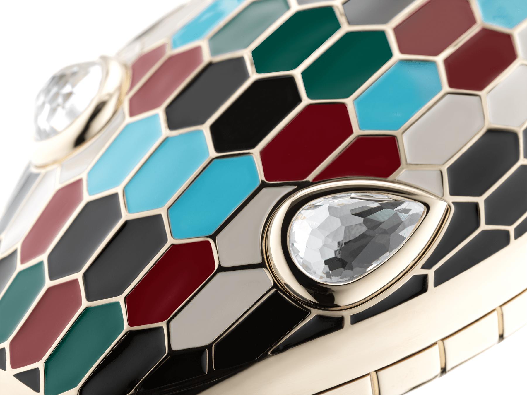 Минодьер Mary Katrantzou x Bvlgari, алюминий с покрытием из светлого золота, чешуйки из разноцветной эмали, гипнотические глаза из хрусталя. Специальная серия. MK-1153 image 4