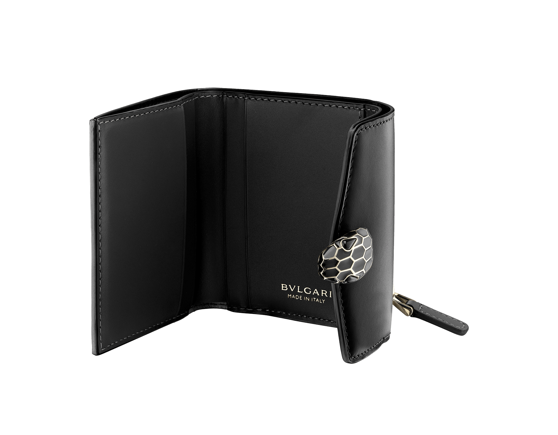 """Serpenti Forever"" slim compact wallet in black calf leather and black goatskin. Iconic light gold plated brass snakehead stud closure in black enamel, with black onyx eyes. 290317 image 2"