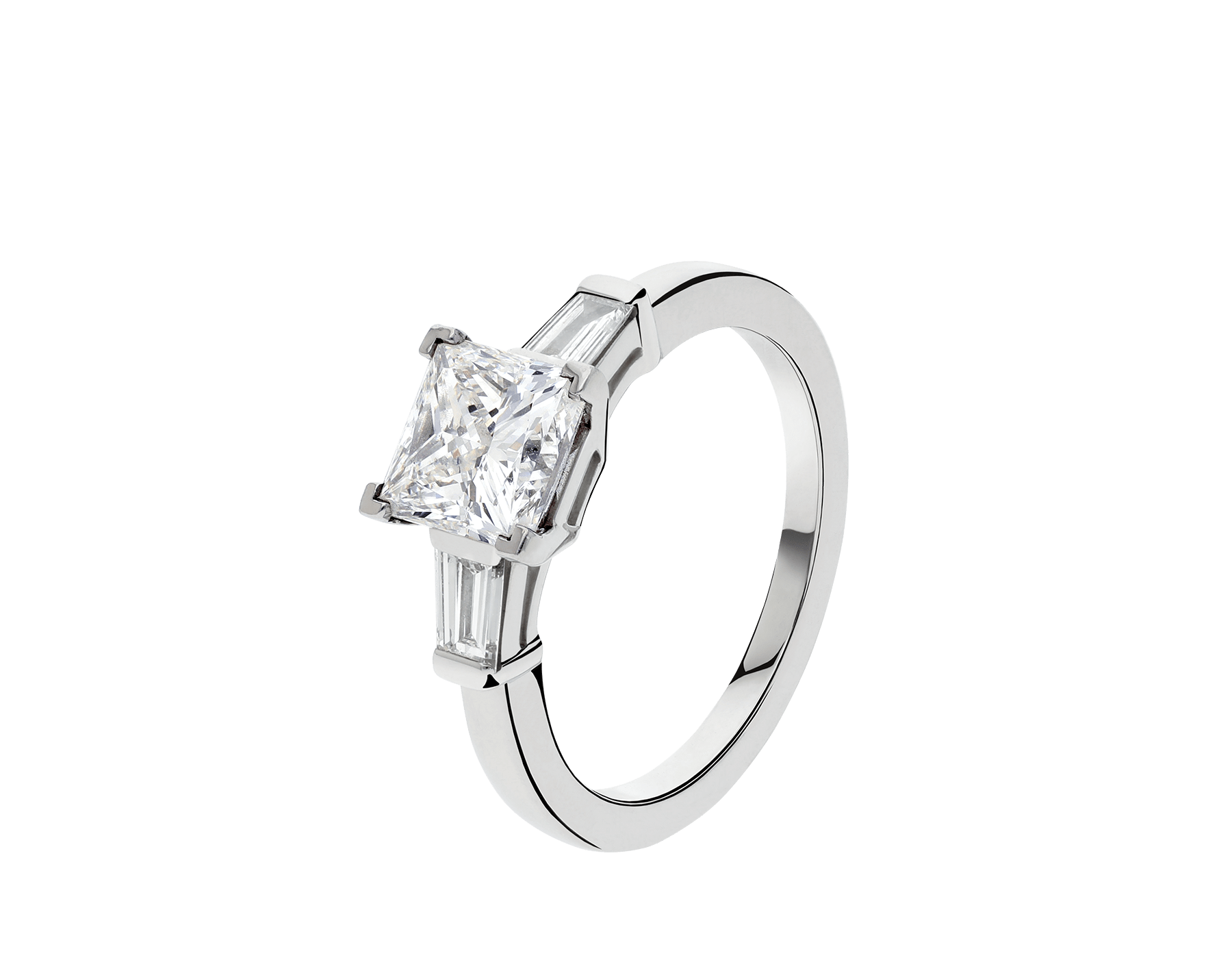 Griffe solitaire ring in platinum with princess cut diamond and two side diamonds. Available in 1 ct. A classic setting that allows the beauty and the pureness of the solitaire diamond to assert itself. 338560 image 1