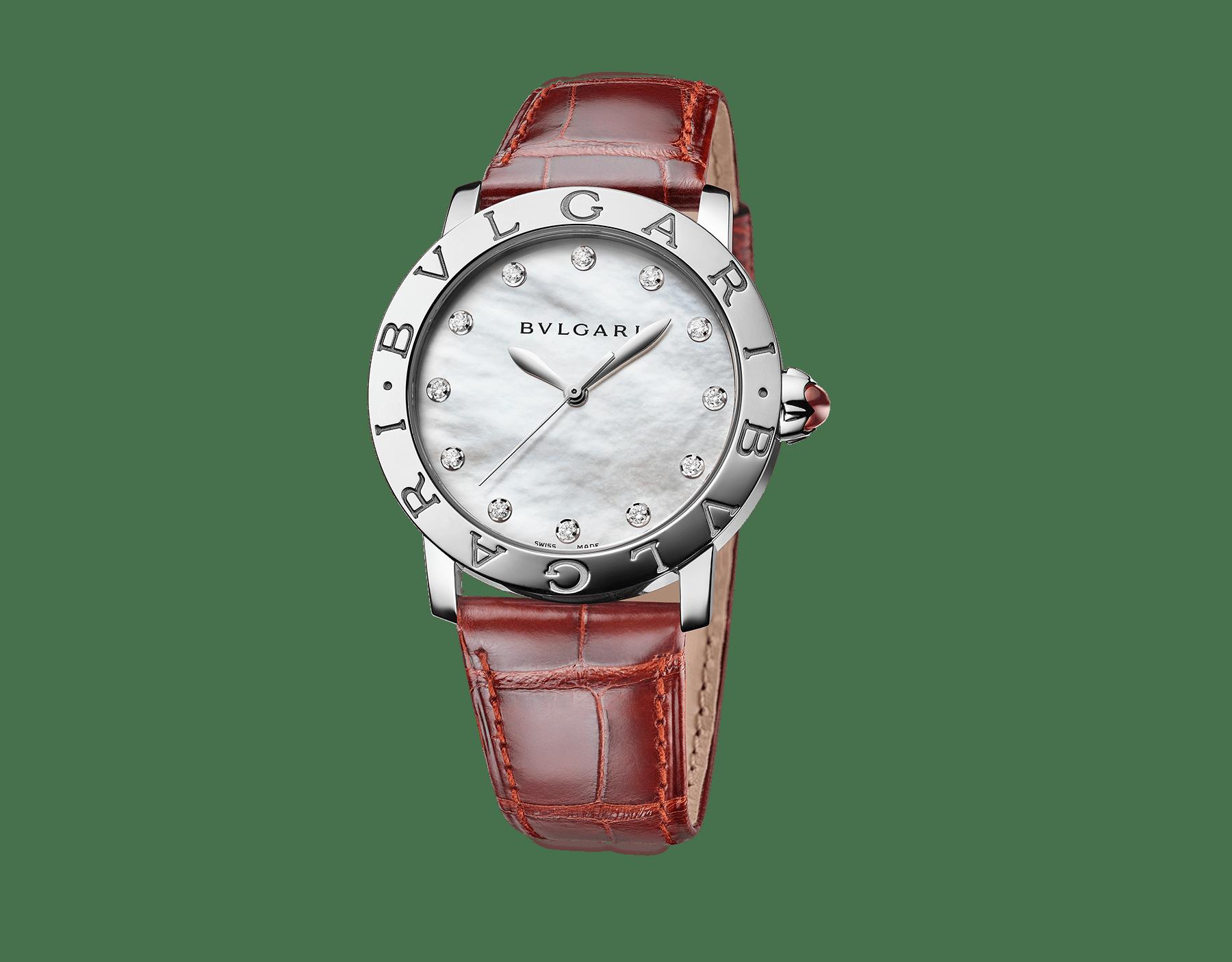 Reloj BVLGARI BVLGARI con caja en acero inoxidable, esfera de madreperla blanca, diamantes engastados como índices y correa de piel de aligátor marrón oscuro brillante. 102748 image 1