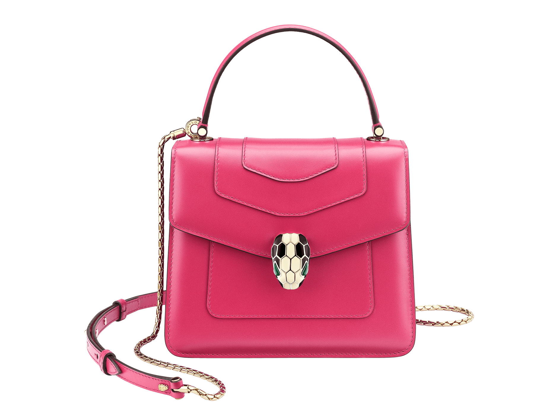 """""""Serpenti Forever"""" crossbody bag in jazzy tourmaline calf leather. Iconic snakehead closure in light gold plated brass enriched with black and white enamel and green malachite eyes. 287024 image 1"""