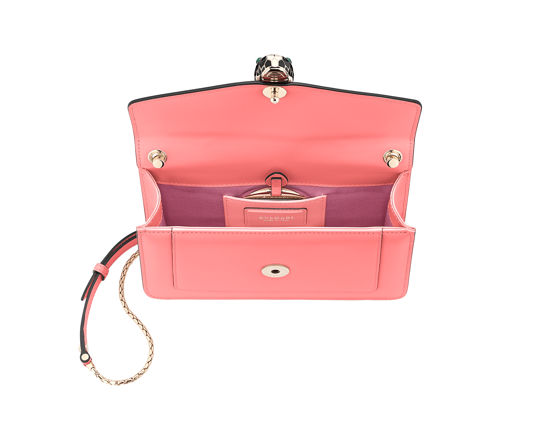 """Serpenti Forever"" crossbody bag in silky coral calf leather. Iconic snake head closure in light gold plated brass enriched with black and white enamel and green malachite eyes. 288708 image 4"