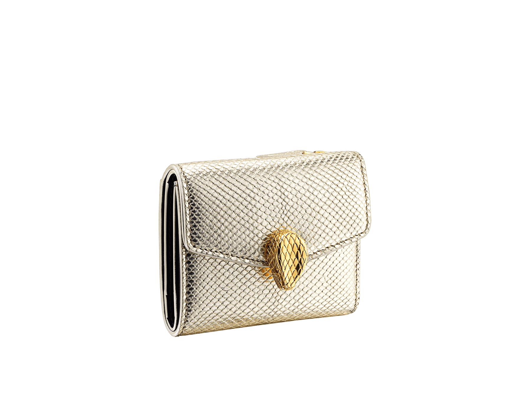 """Slender, compact """"Serpenti Forever"""" wallet in """"Molten"""" gold karung skin and black calfskin, offering a touch of radiance for the Winter Holidays. New Serpenti head closure in gold-plated brass, complete with ruby-red enamel eyes. SEA-SLIMCOMPACT-MoltK image 1"""