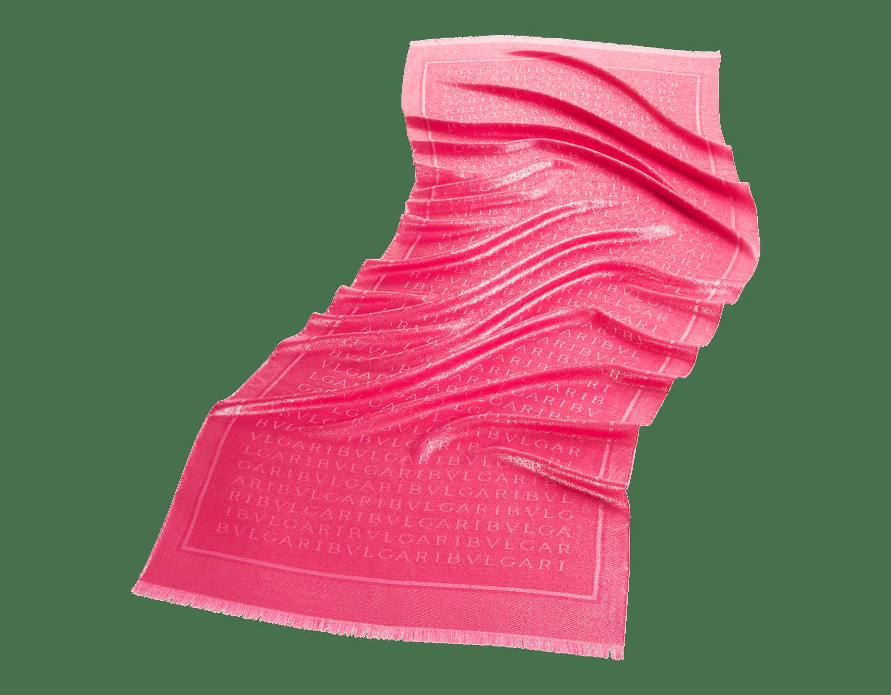 Étole Lettere Maxi Metal couleur Flash Amethyst en laine et soie fine. 244061 image 1