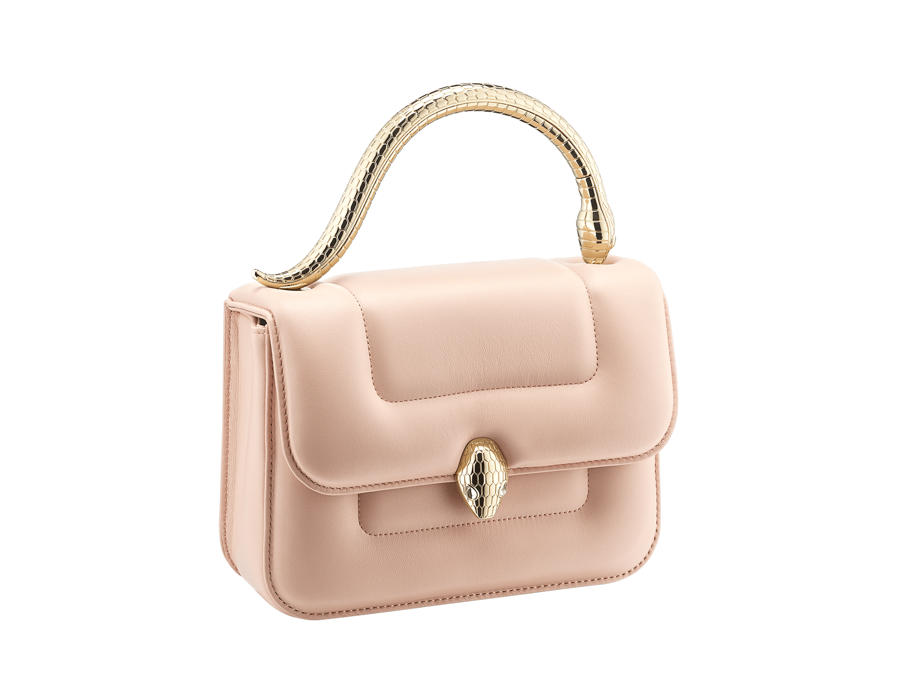 """""""Mary Katrantzou x Bvlgari"""" top handle bag in soft matelassé Aegean Topaz blue nappa leather, with Aegean Topaz blue nappa leather inner lining. New Serpenti head closure in gold-plated brass, finished with seductive crystal eyes. Special Edition. MK-1142 image 2"""